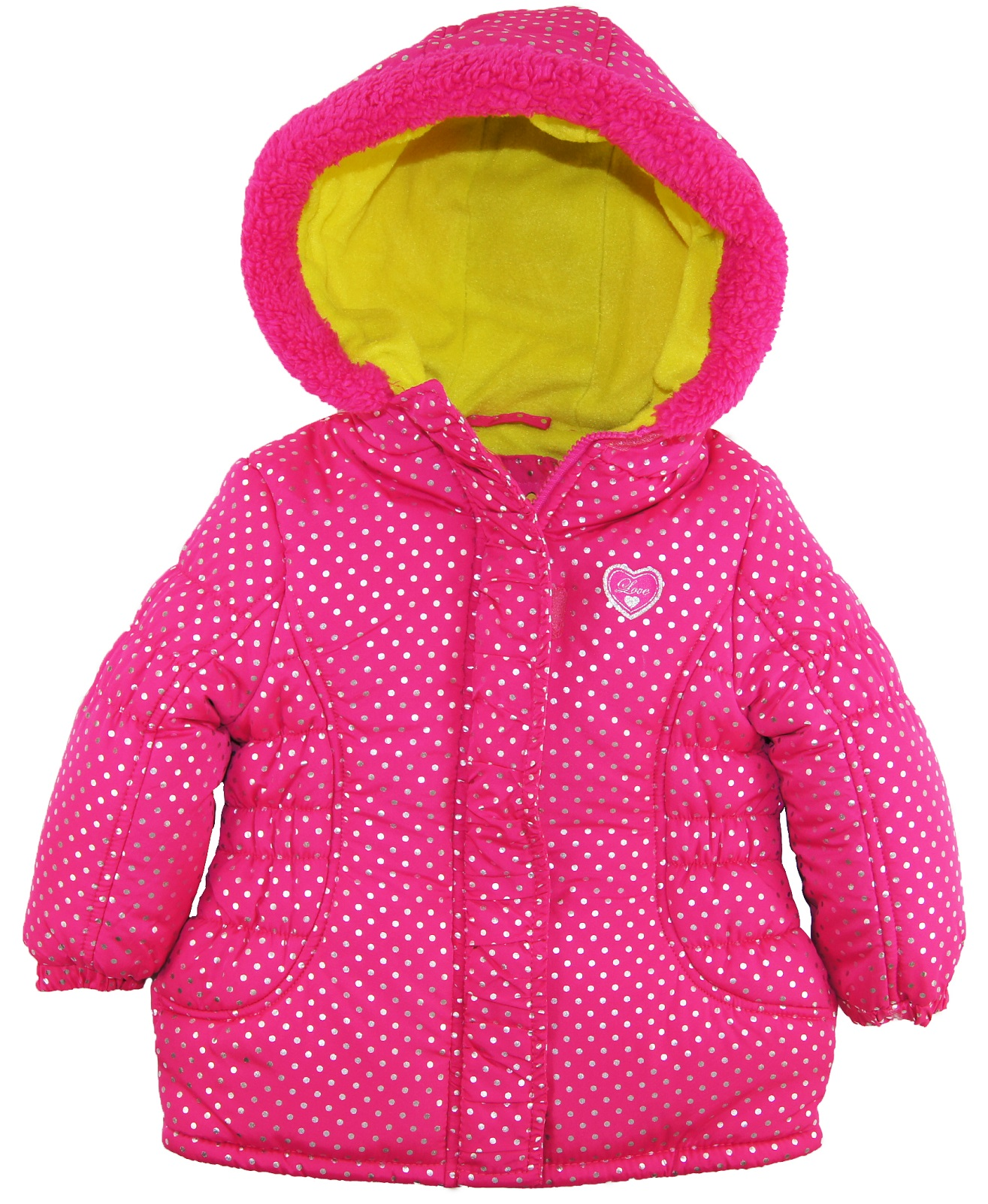 Pink Platinum Little Girls' Toddler Silver Polka Dots Puffer Winter Jacket Coat