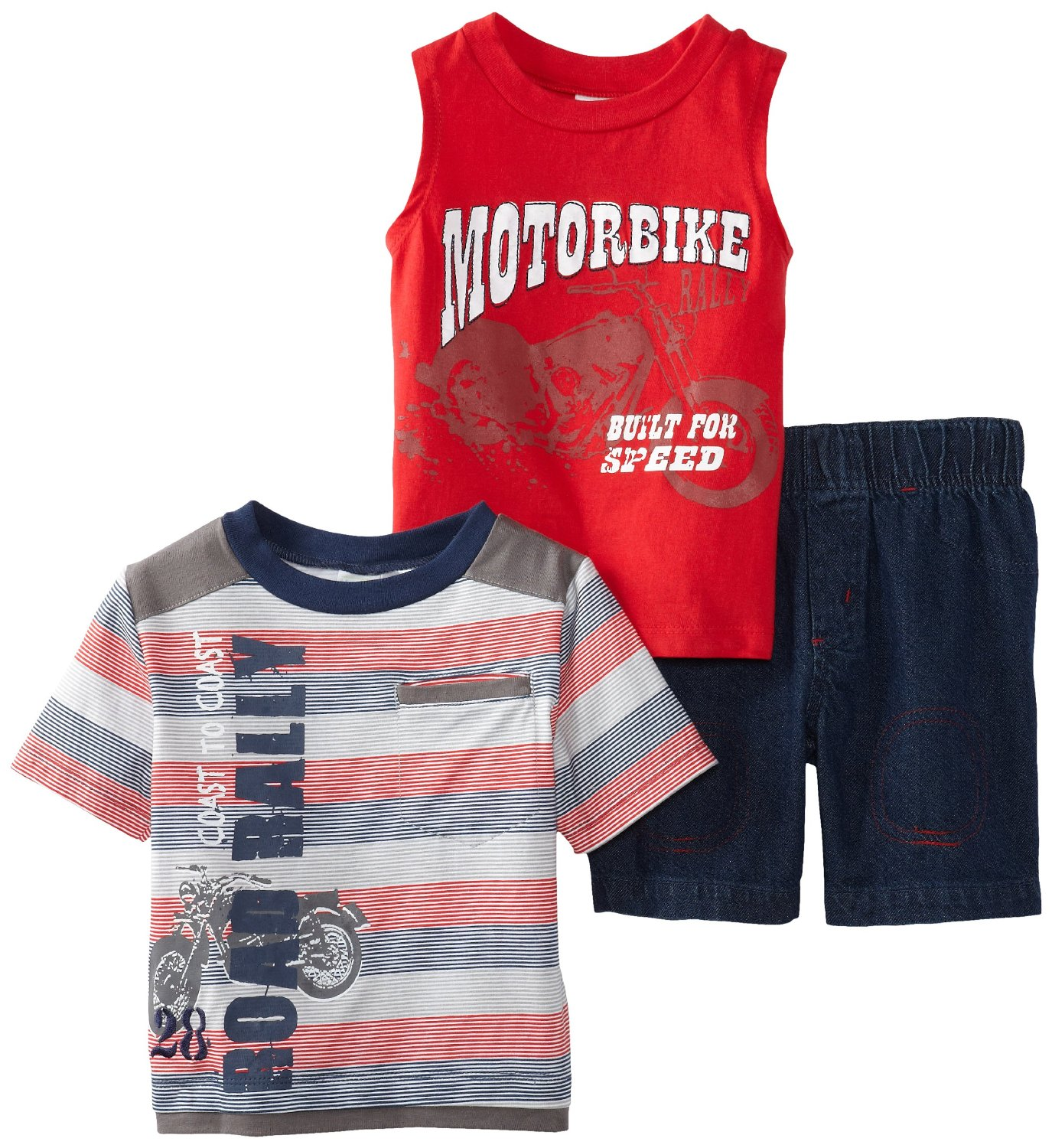 Baby Togs Infant Baby-Boys Motorbike Tank T-shirt and Short 3Pc Set