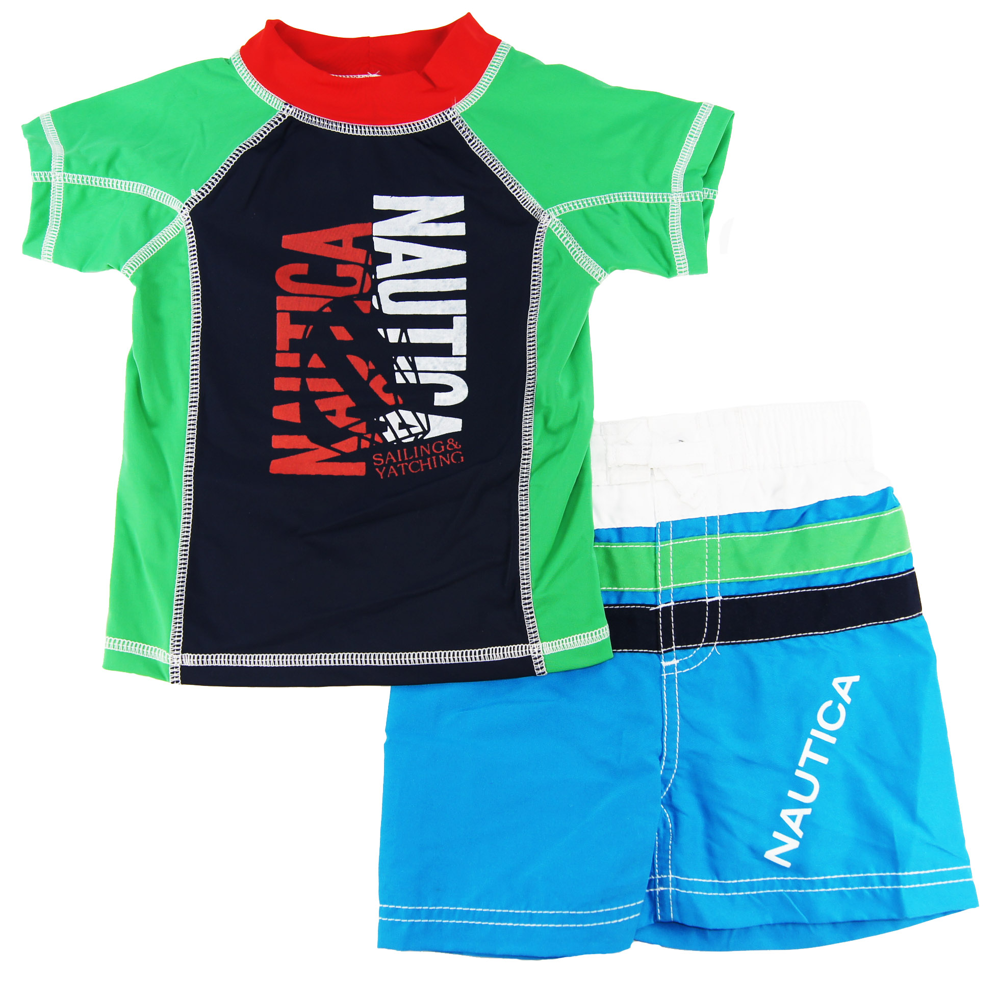 Nautica Infant Boys Green/Blue Print Rash Guard Swim Top/Shorts 2 Pc Set 121824M at Sears.com