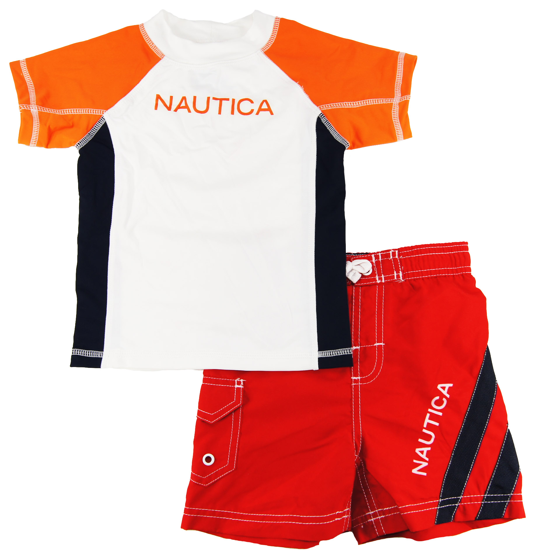 Nautica Infant Boys Orange/Red Print Rash Guard Swim Top/Shorts 2 Pc Set 121824M at Sears.com
