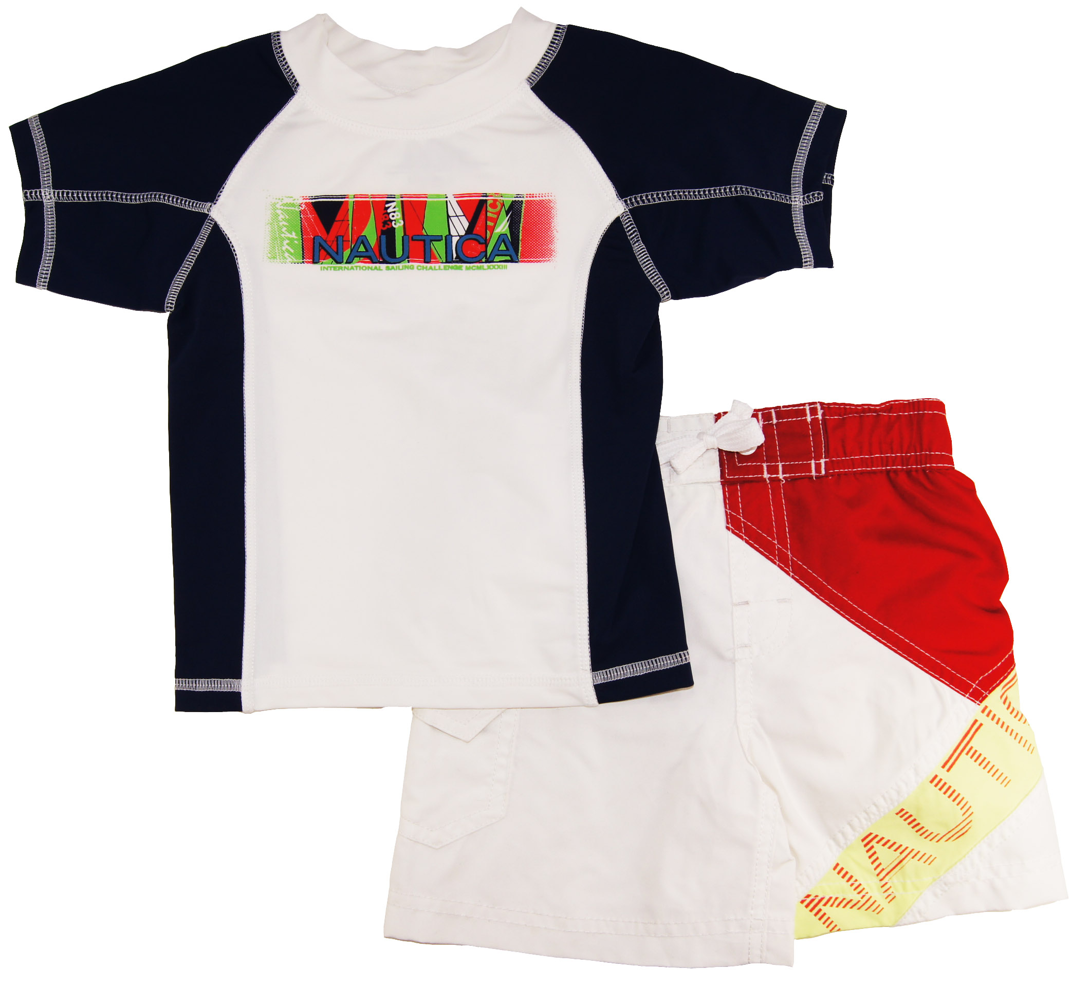 Nautica Infant Boys White Print Rash Guard Swim Top/Shorts 2 Pc Set 12M 18M 24M at Sears.com
