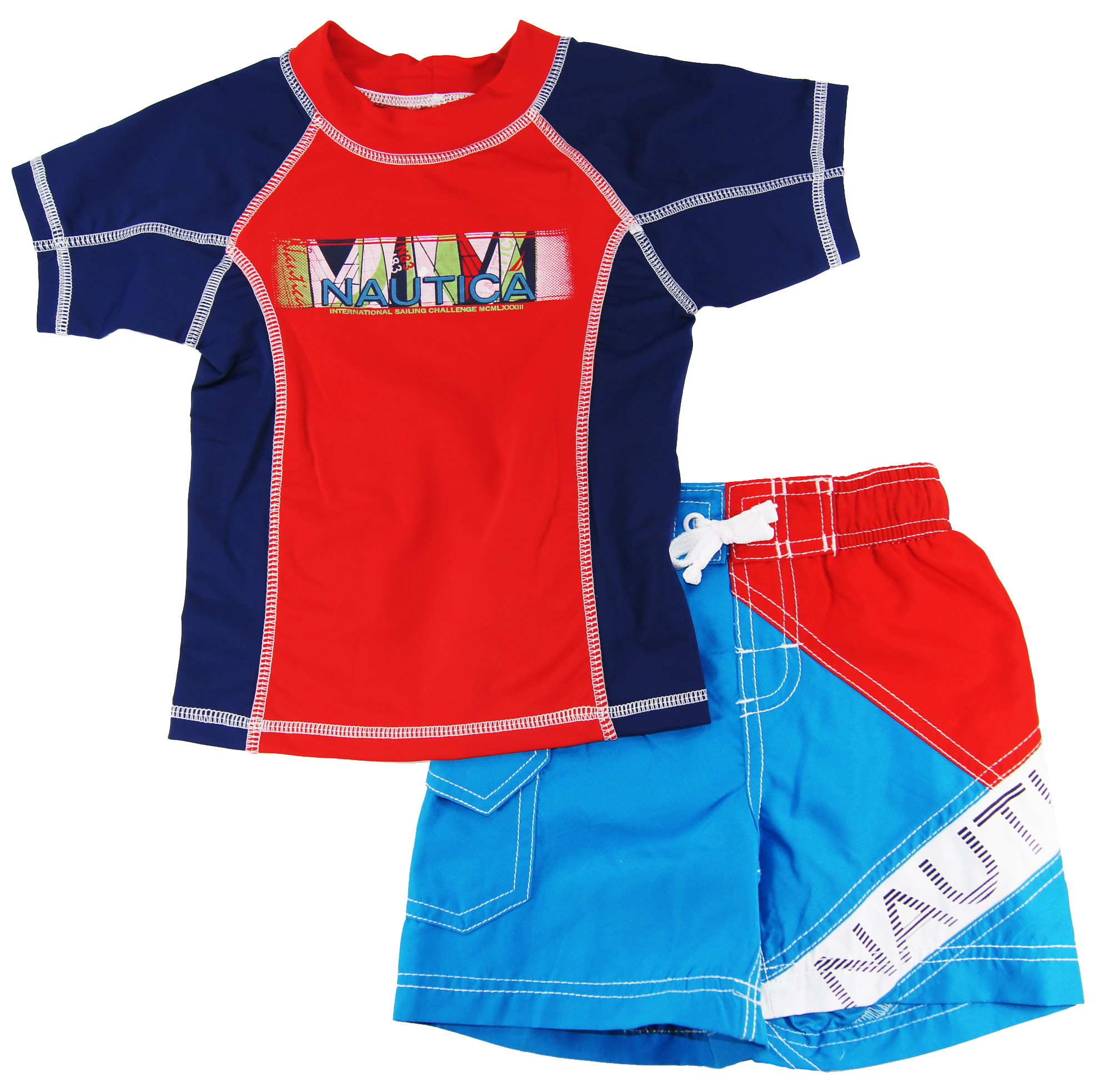 Nautica Toddler Boys Blue/Red Print Rash Guard Swim Top/Shorts 2 Pc Set 2T 3T 4T at Sears.com