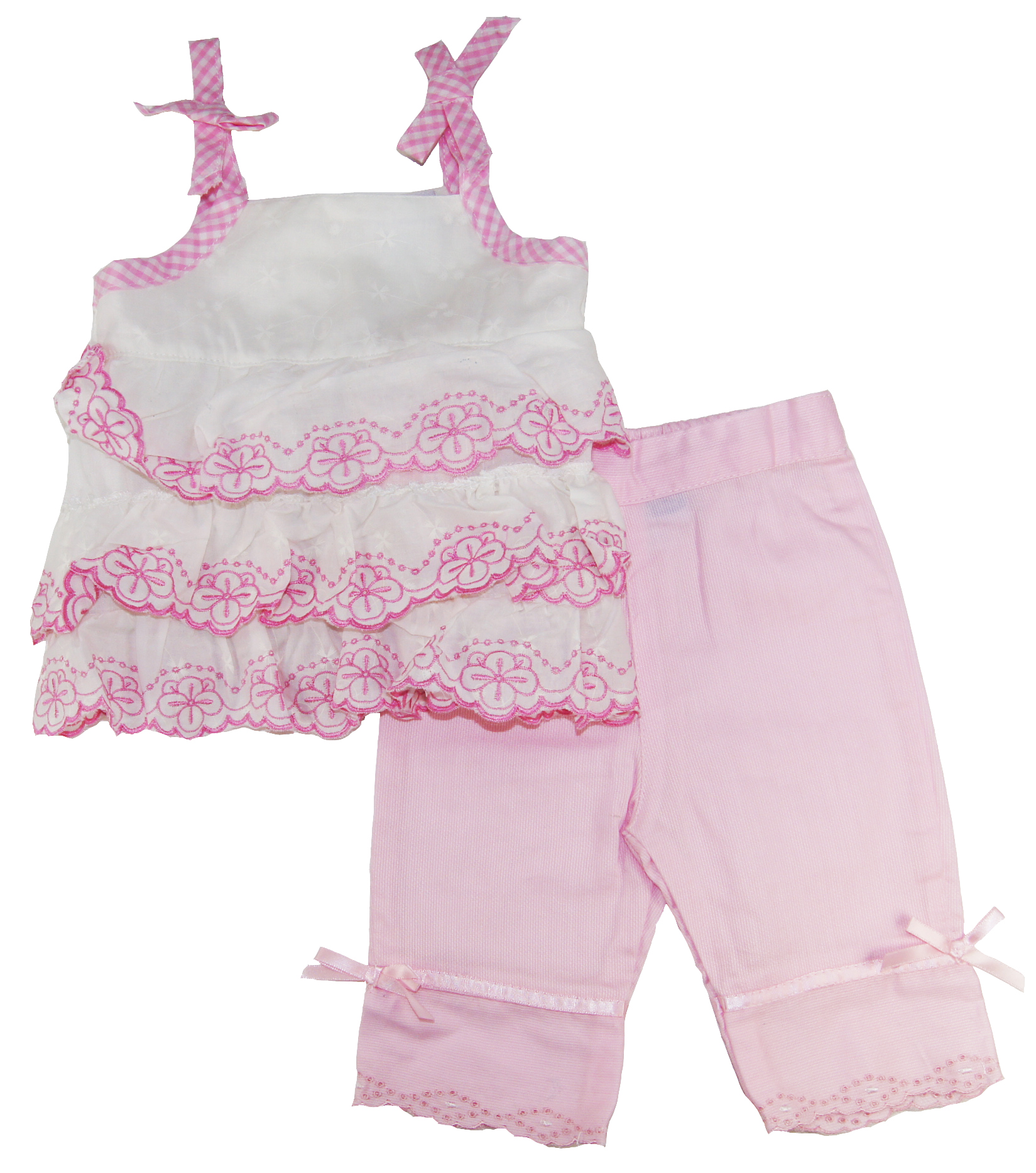 Bon Bebe Newborn Girls Pink/White Dress With Capri Pants 2 Pc 3-6M 6-9M at Sears.com