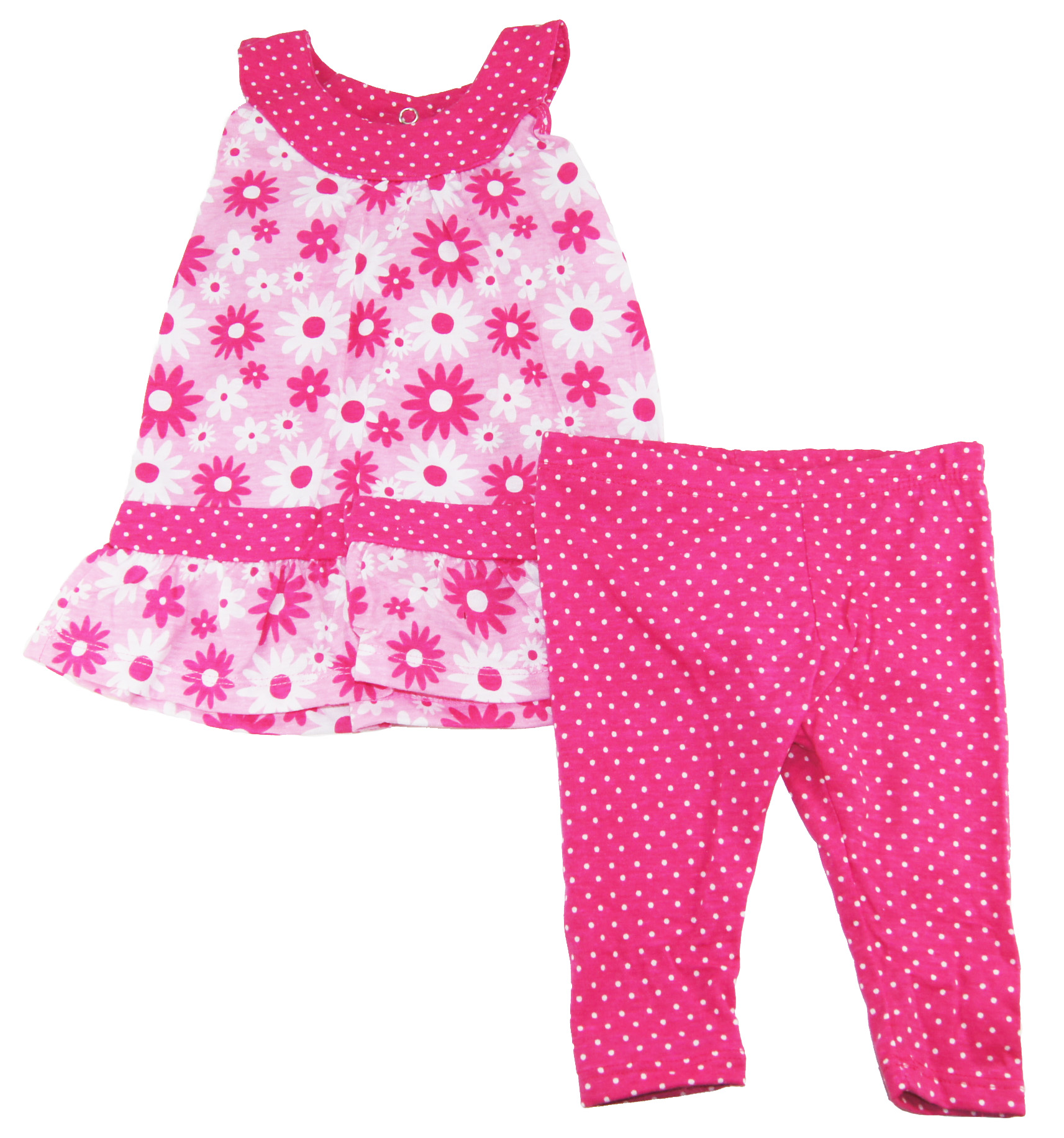 Buster Brown Baby-Girls 3-9M Pink Flowers Tunic/Dress with Leggings 2Piece Set at Sears.com