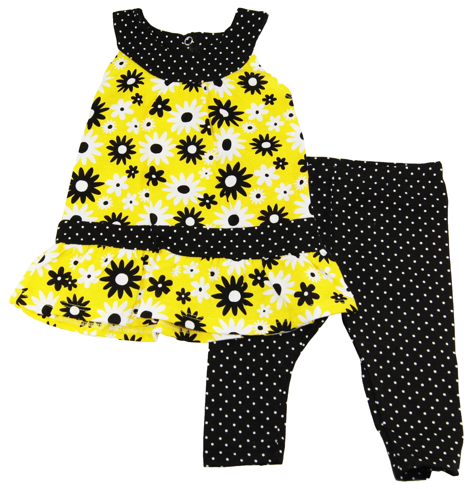 Buster Brown Baby-Girls 3-9M Yellow Flowers Tunic/Dress with Leggings 2Piece Set at Sears.com