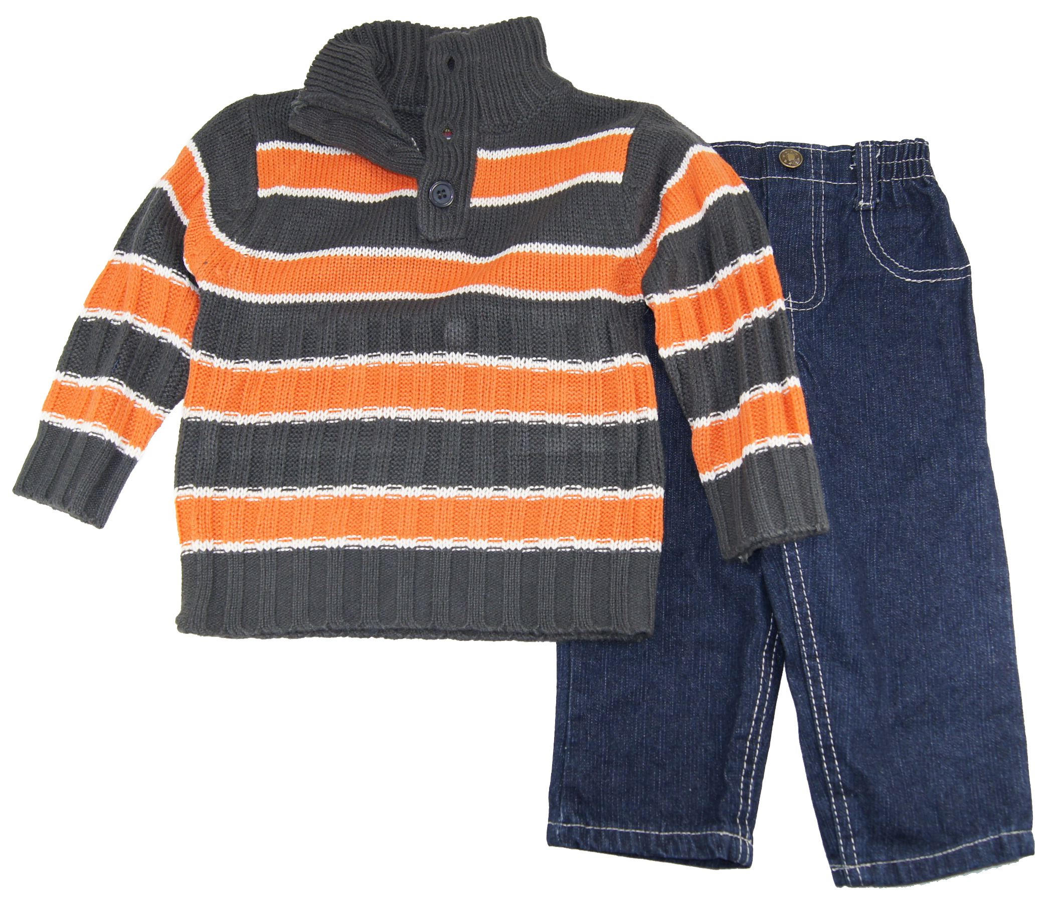 Quad Seven Infant Boys 12-24 Orange Striped Button Up Cardigan Sewater Denim Set at Sears.com