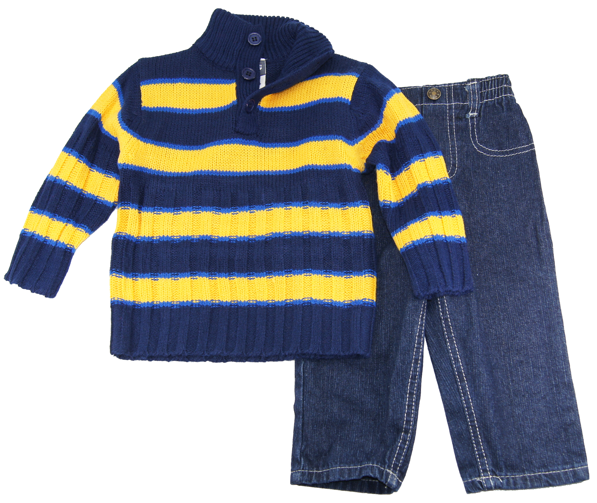 Quad Seven Infant Boys 12-24 Yellow Striped Button Up Cardigan Sewater Denim Set at Sears.com