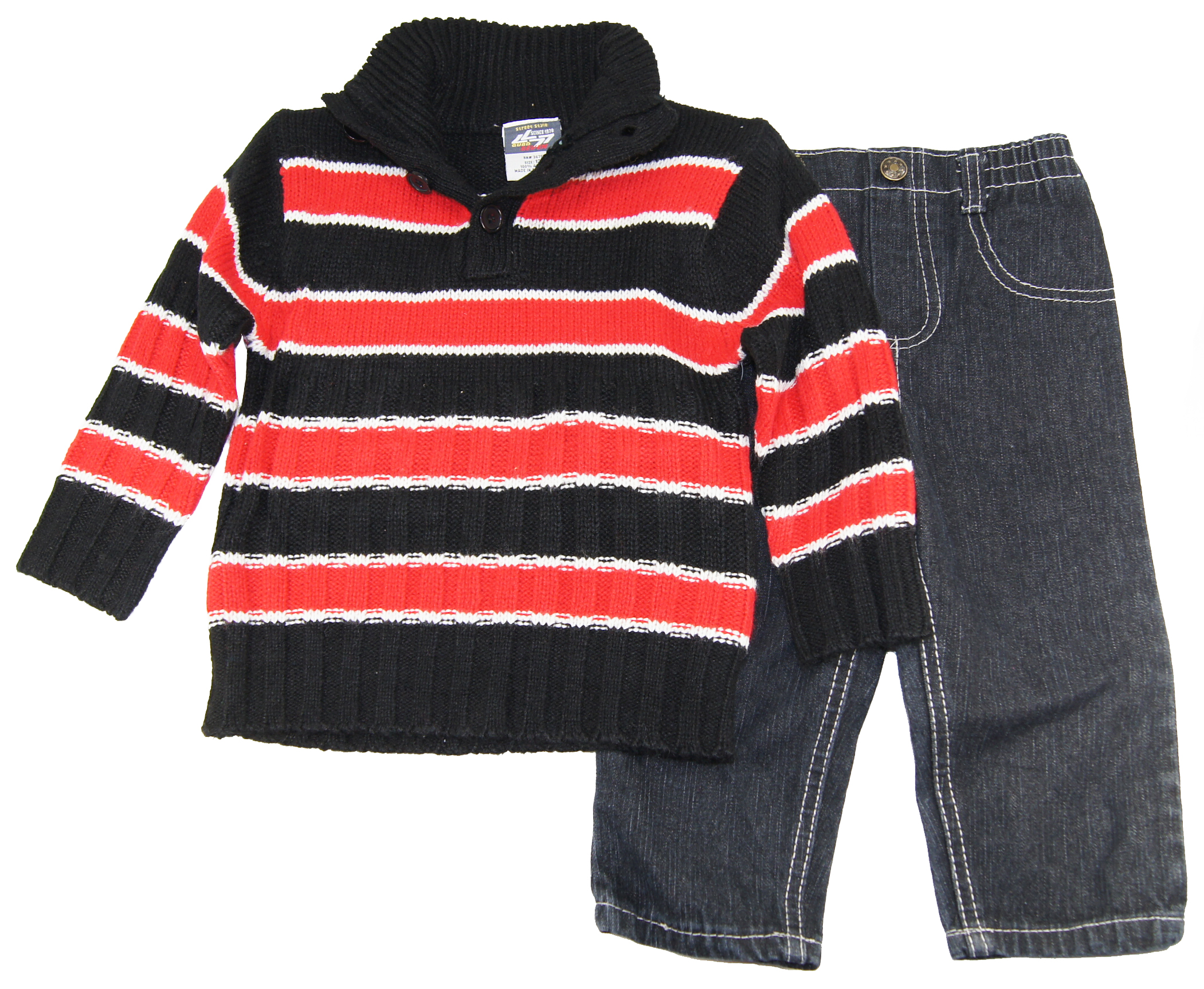 Quad Seven Infant Boys 12-24 Red Striped Button Up Cardigan Sewater Denim Set at Sears.com