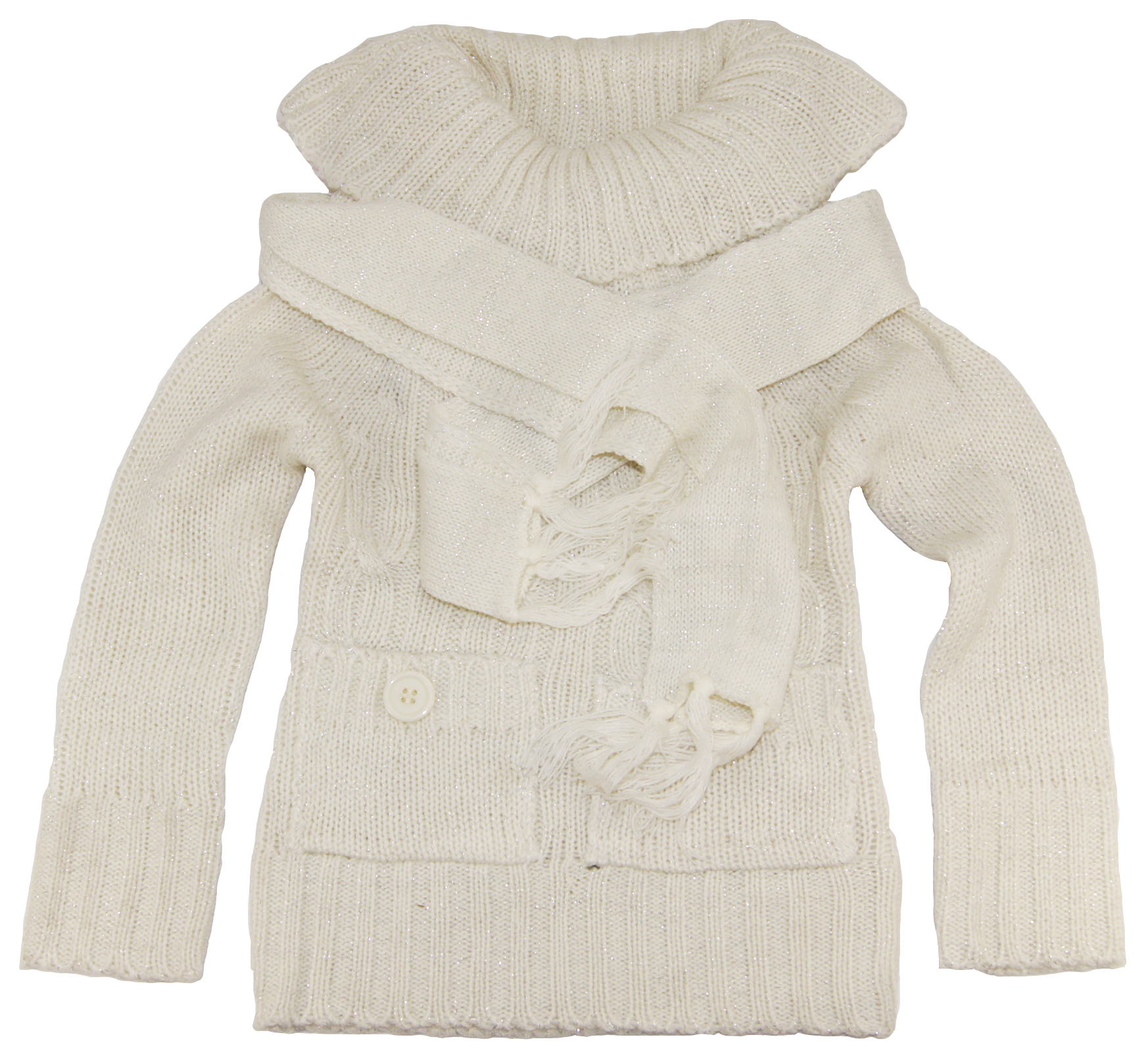 Dollhouse Toddler Girls 2-6X White Turtleneck Cardigan Sweater with Scarf Set at Sears.com