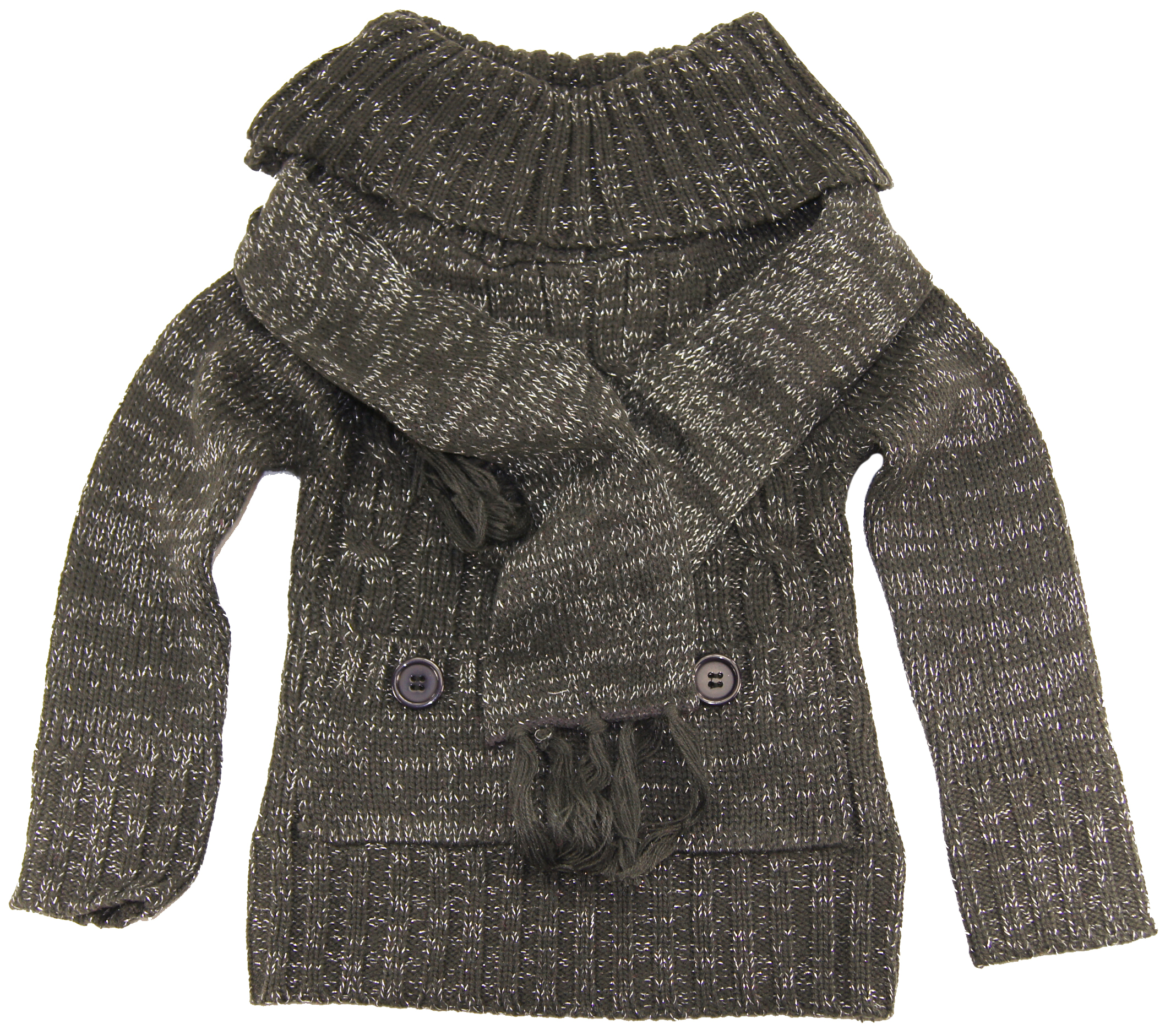 Dollhouse Toddler Girls 2-6X Dark Gray Turtleneck Cardigan Sweater Scarf Set at Sears.com