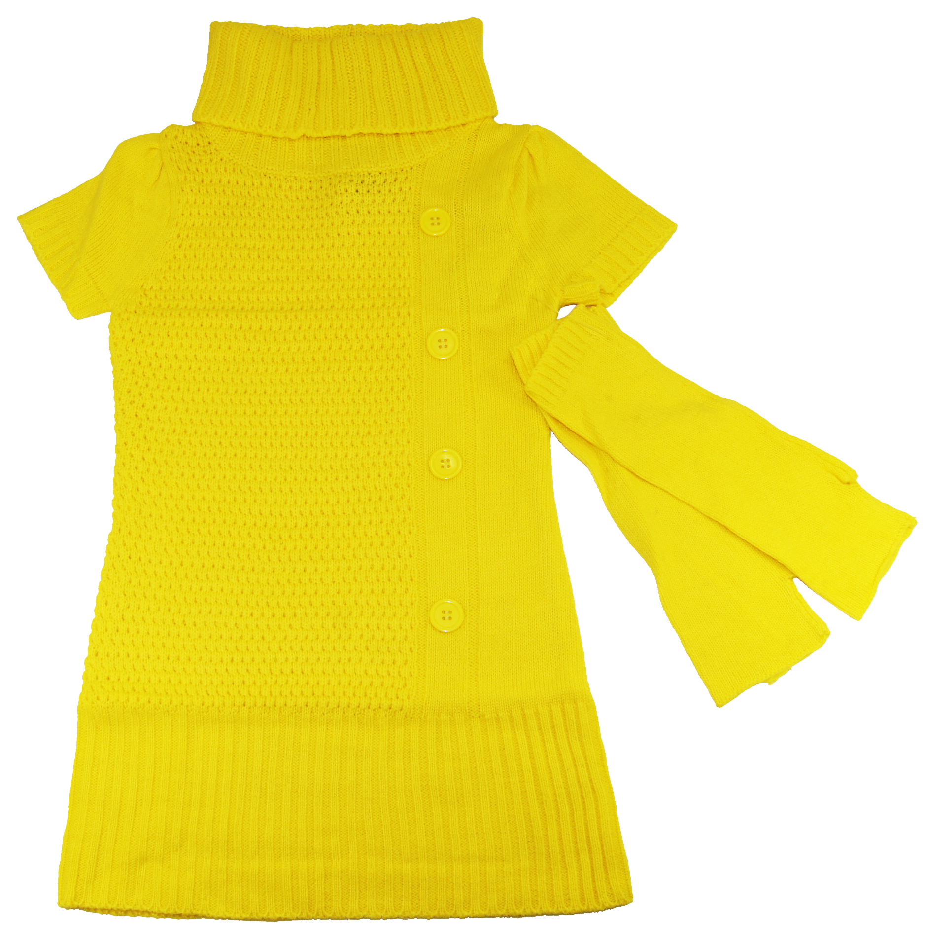 Dollhouse Girls 4-6X Yellow Turtleneck Short Sleeve Dress Sweater Hand Warmers at Sears.com
