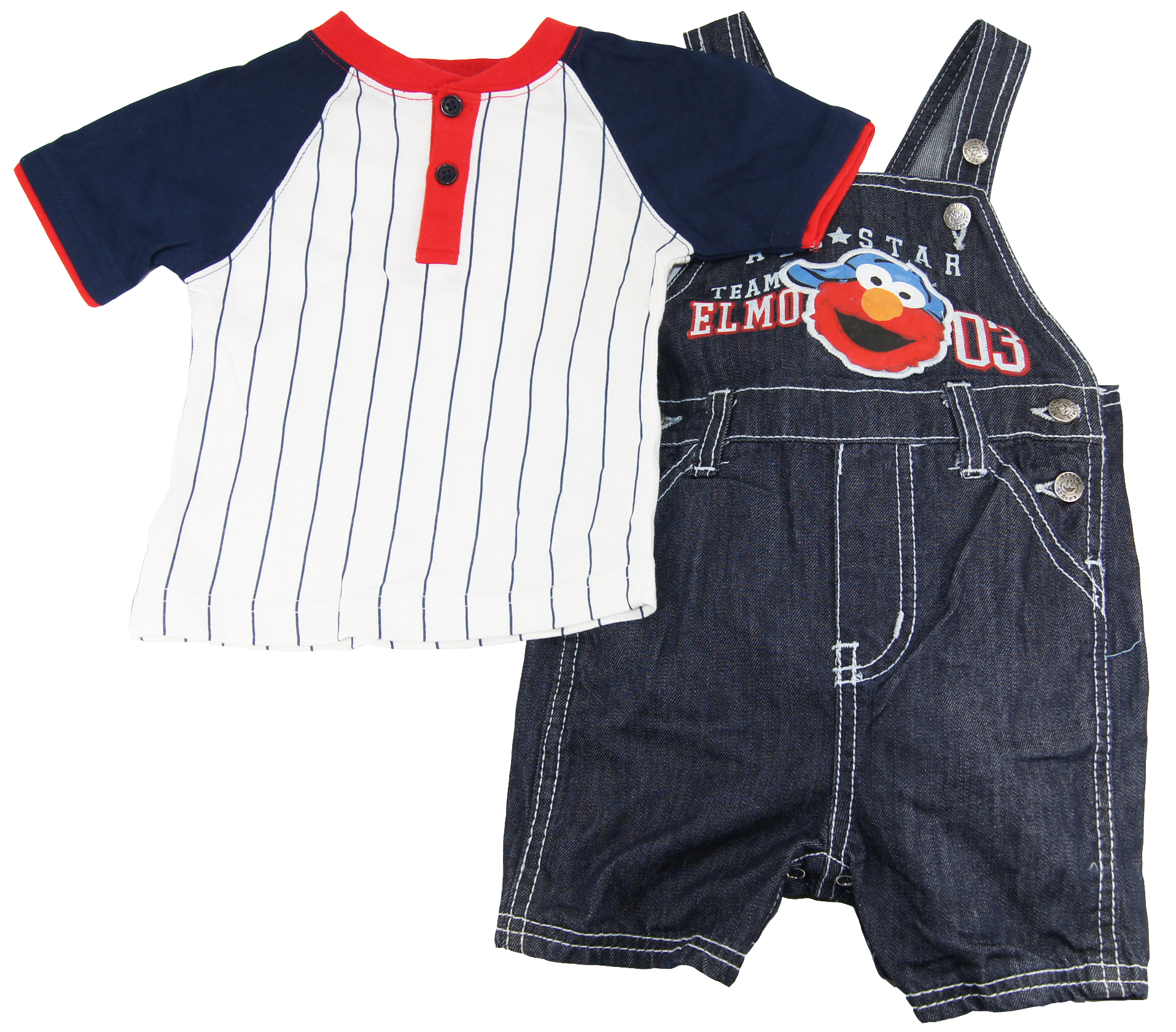 Sesame Street Elmo Sesame Street Baby-boys 12-24M Stripe Knit Pullover and Overalls 2Pc Set at Sears.com