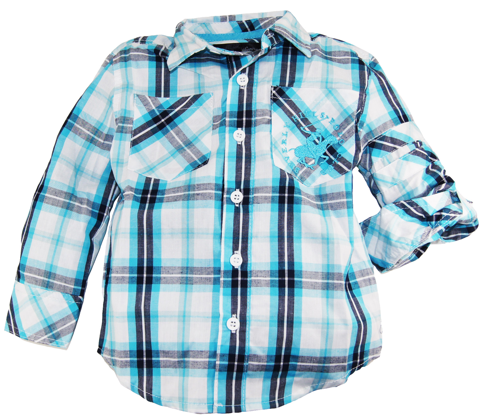 Beverly Hills Polo Club Beverly Hills Polo Boys Blue Atoll Plaid Long Sleeve Shirt at Sears.com