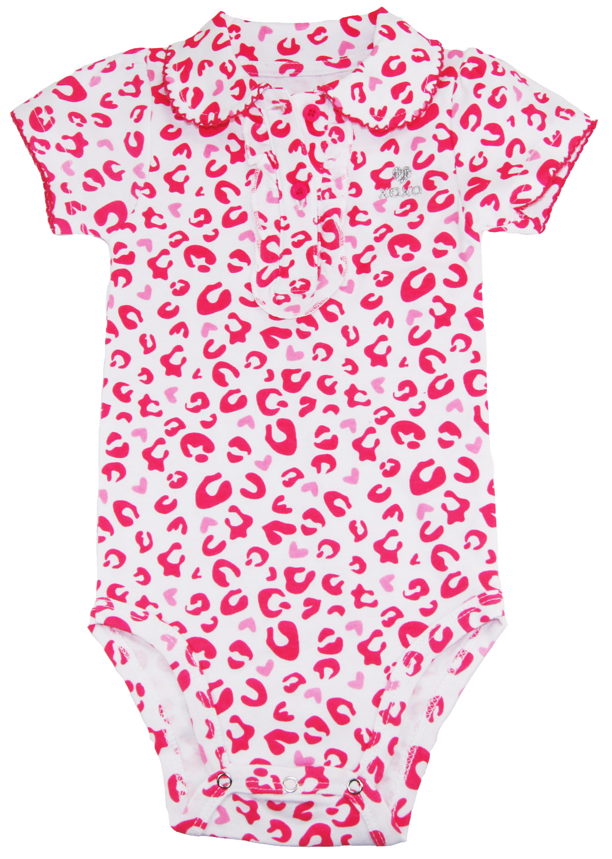 XOXO Baby Girls Pink Leopard Print Peterpan Collar Bodysuit Creeper at Sears.com