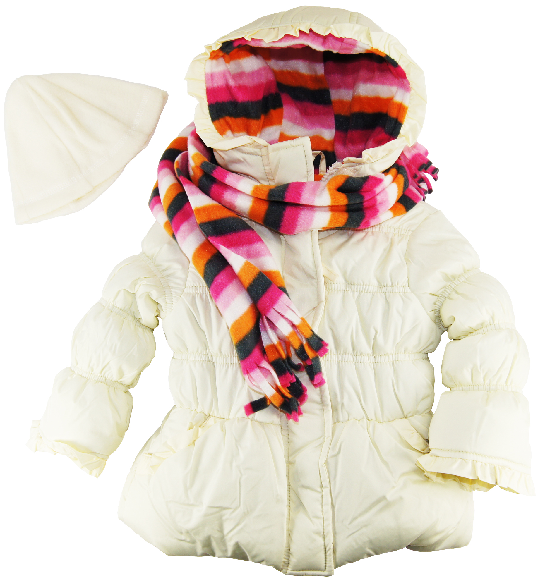 Pink Platinum Little Girls 4-6X Stripes Lining Puffer Jacket with Scarf and Hat Set