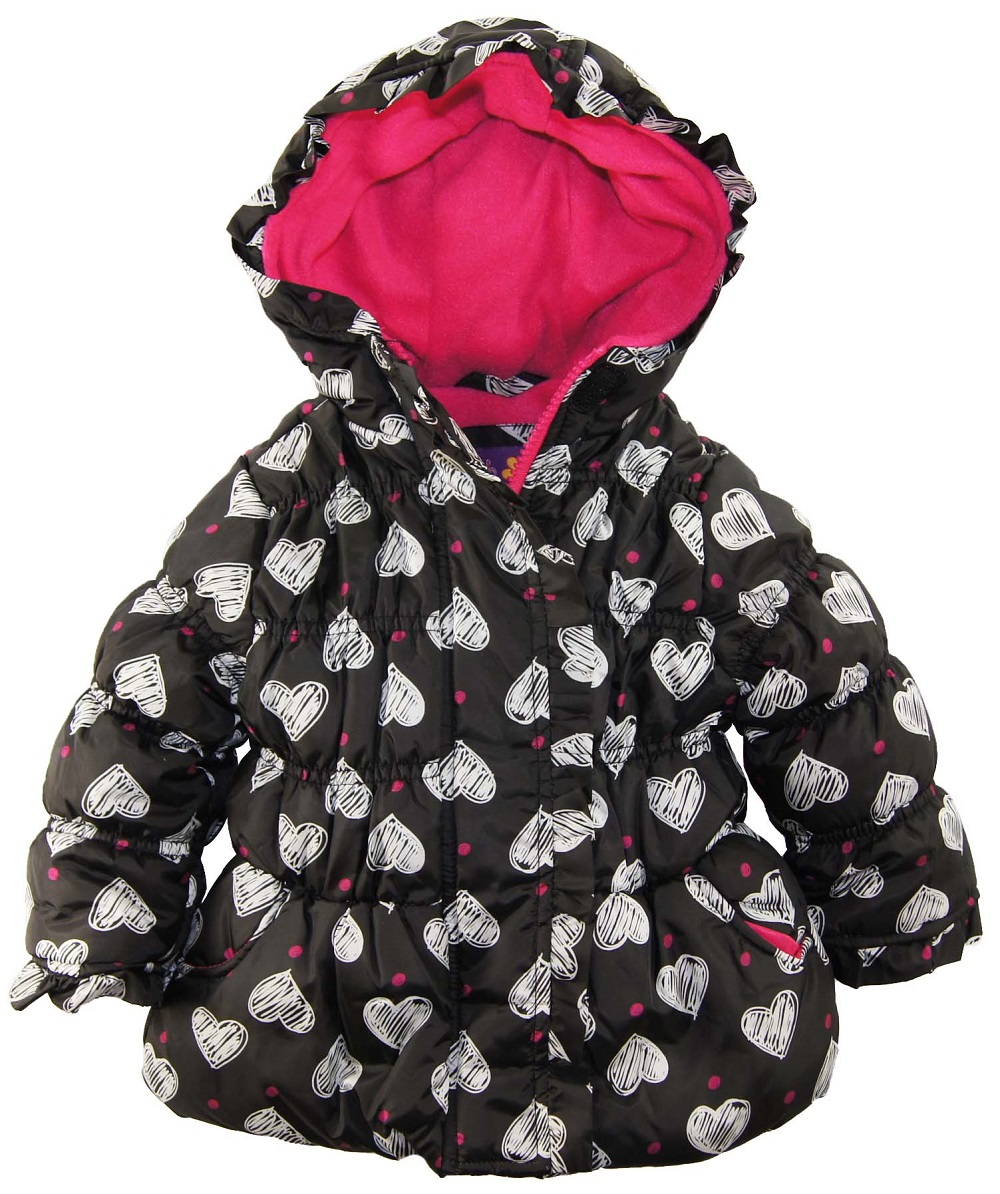Pink Platinum Baby Girls Hearts with Polka Dots Print Puffer Winter Jacket at Sears.com