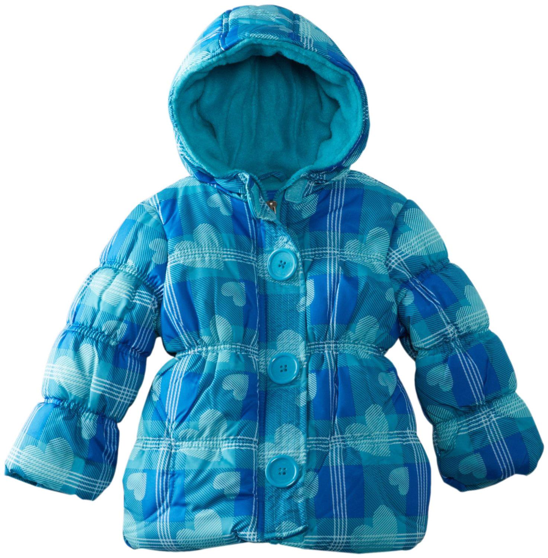 Pink Platinum Little Girls' All Over Heart Plaid Puffer Winter Jacket Coat