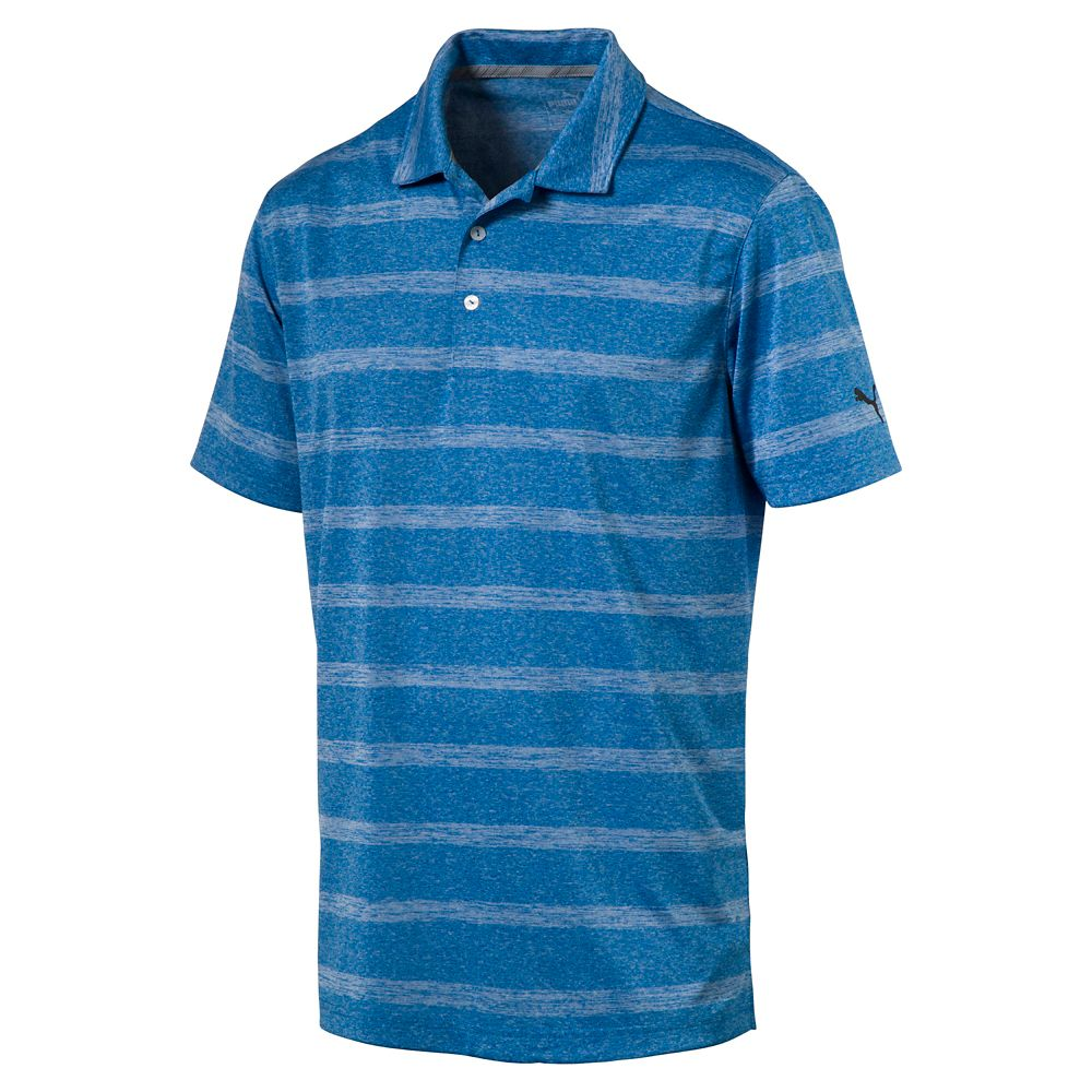 New mens puma golf shirt pounce stripe polo cresting any for Mens puma golf shirts