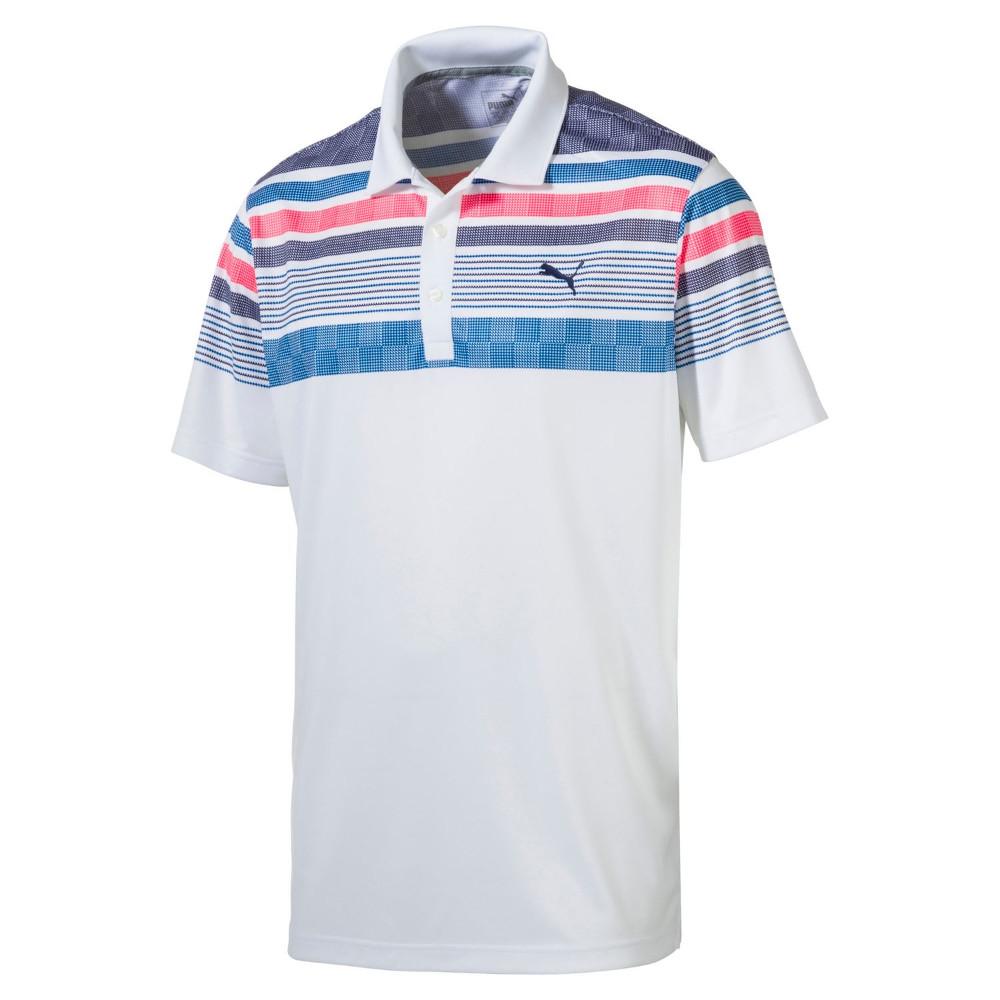 NEW Men's Puma Golf Jersey Stripe Polo Shirt 2017