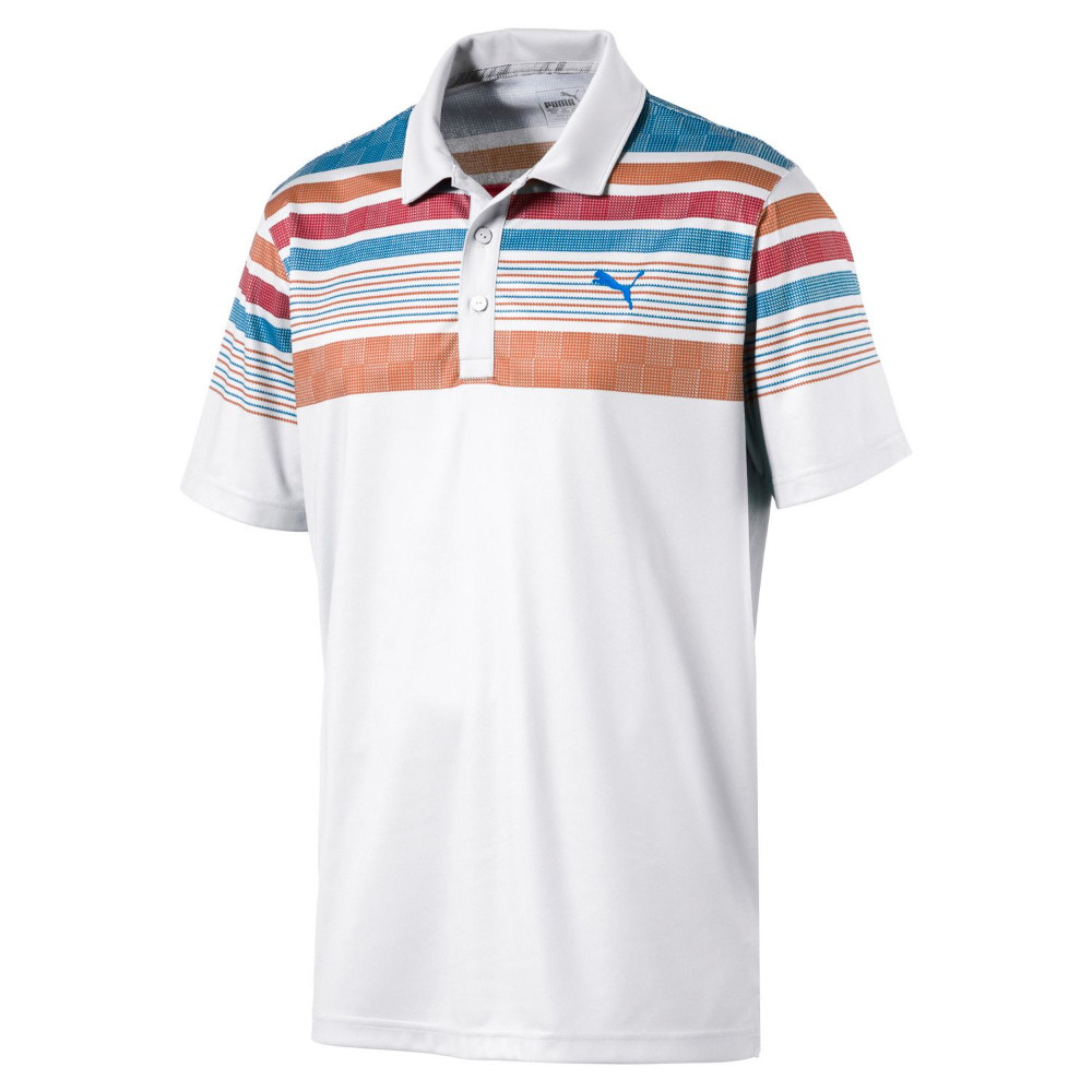 New men 39 s puma golf jersey stripe polo shirt 2017 choose for Mens puma golf shirts