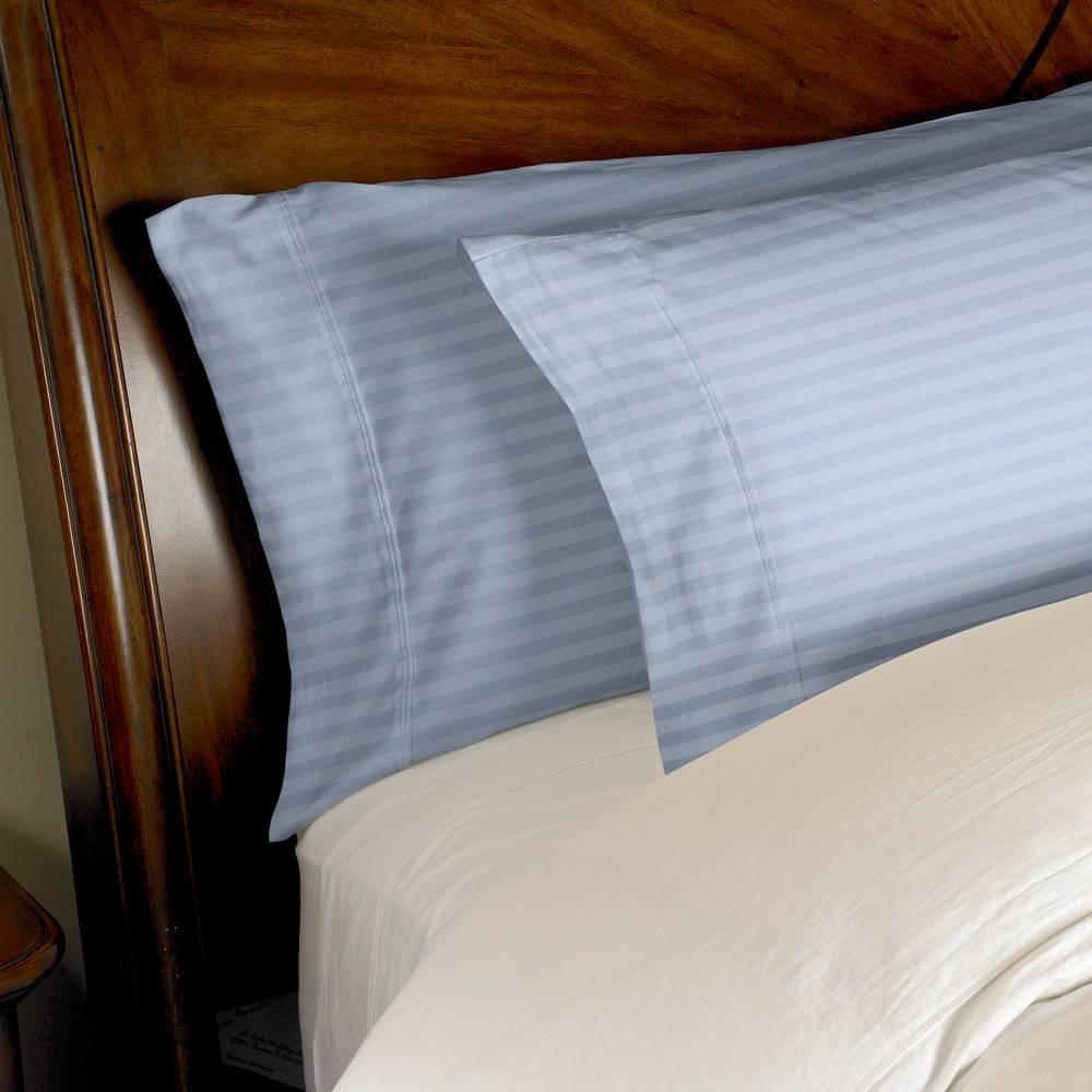 1000 Thread Count 2pc PillowCase Set Cotton by eLuxury King Striped Medium Blue