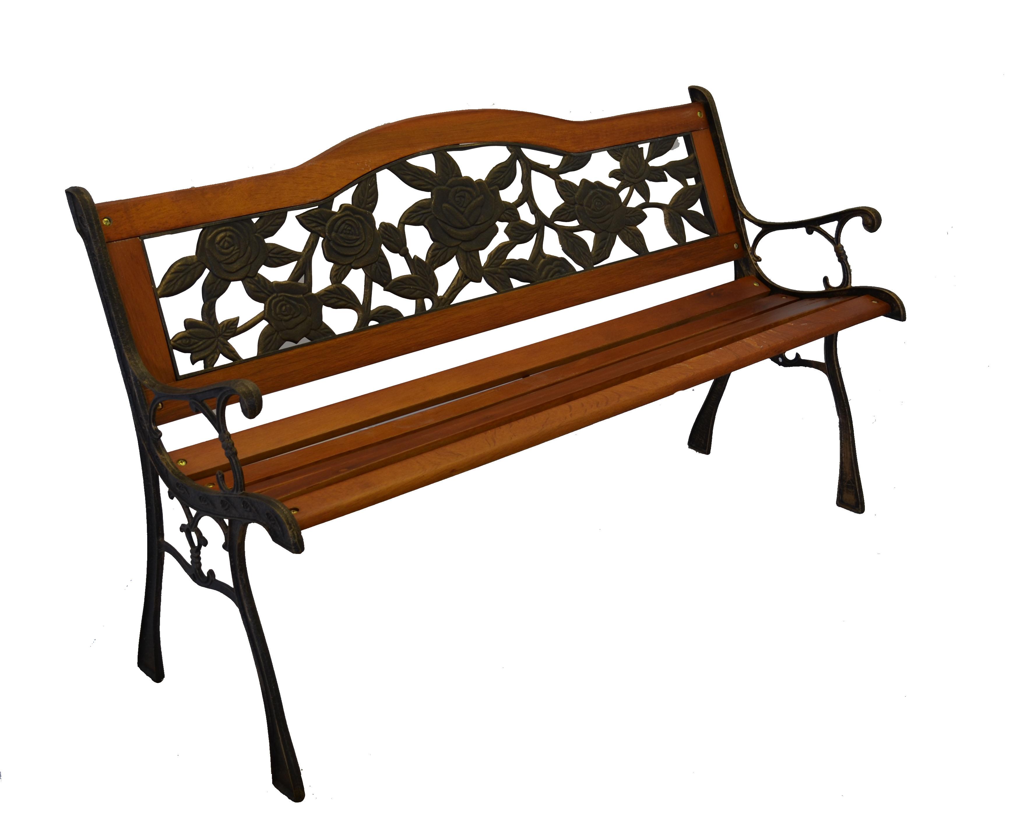 Rose Bloom Cast Iron Park Bench W Resin Back Insert For Yard Or Garden V2 Ebay