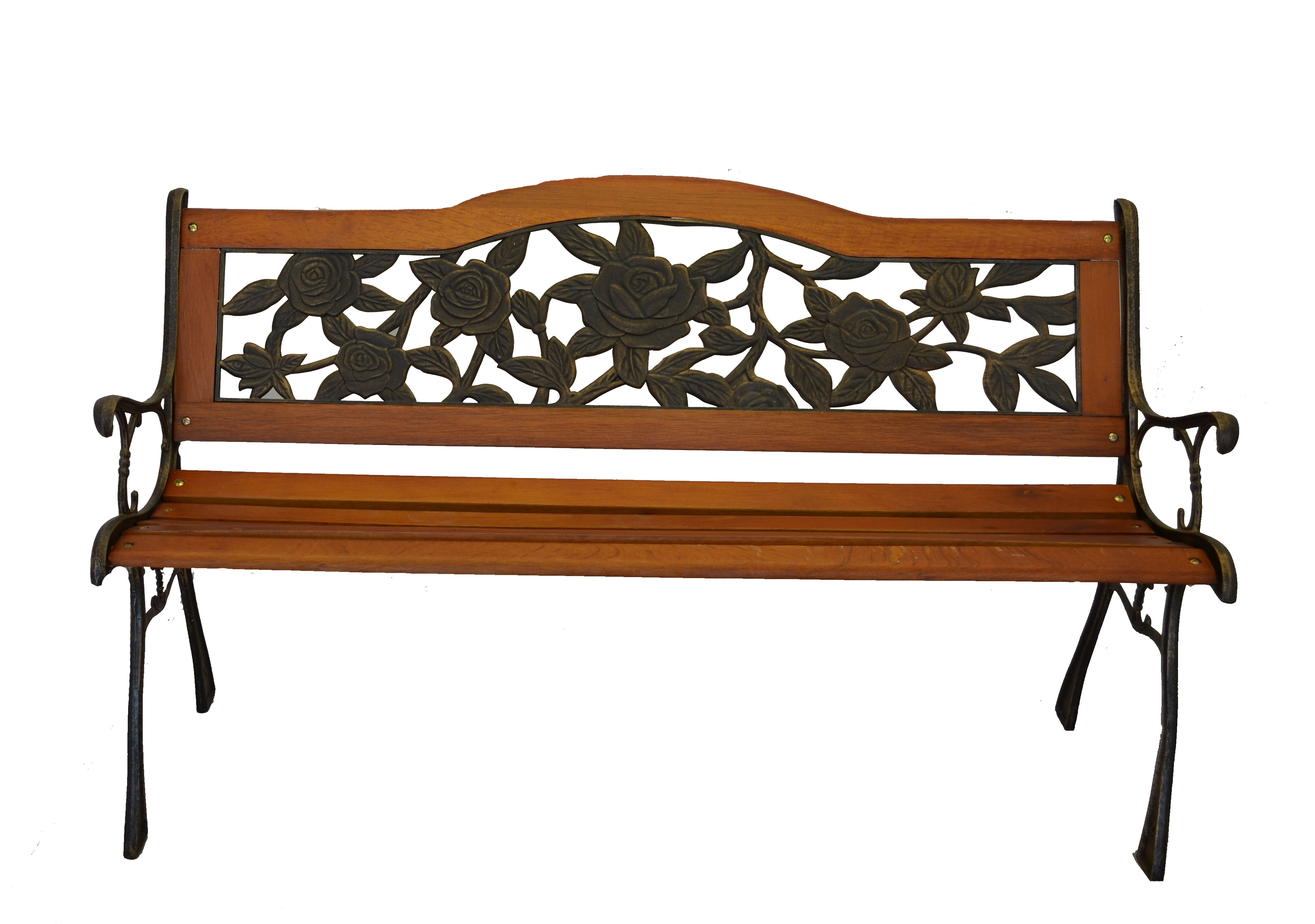 Rose Bloom Cast Iron Park Bench W Resin Back Insert For Yard Or Garden Ebay