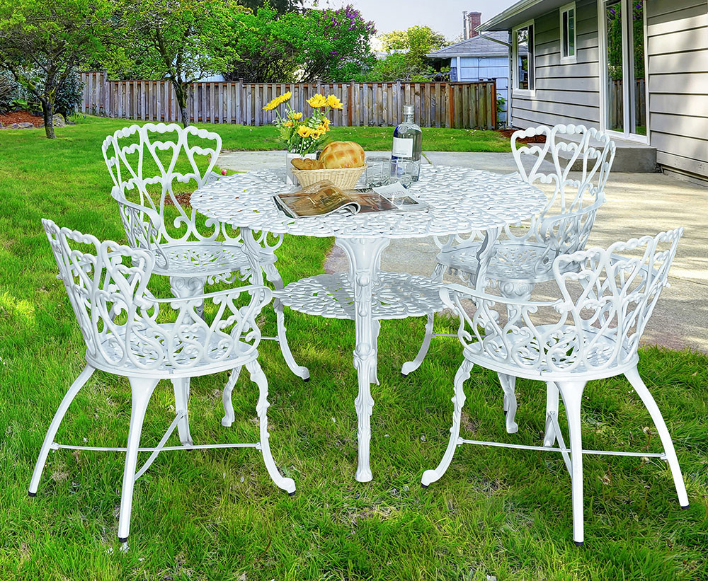 Antique Victorian Cast Aluminum Patio Dining Chairs White Heart Set Of Two Ebay