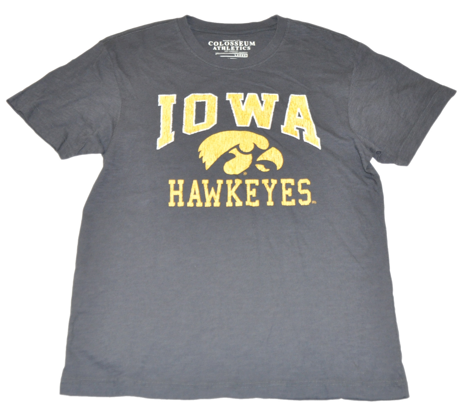 Colosseum Iowa Hawkeyes Colosseum Athletics Faded Logo Black 100% Cotton T-Shirt (L) at Sears.com