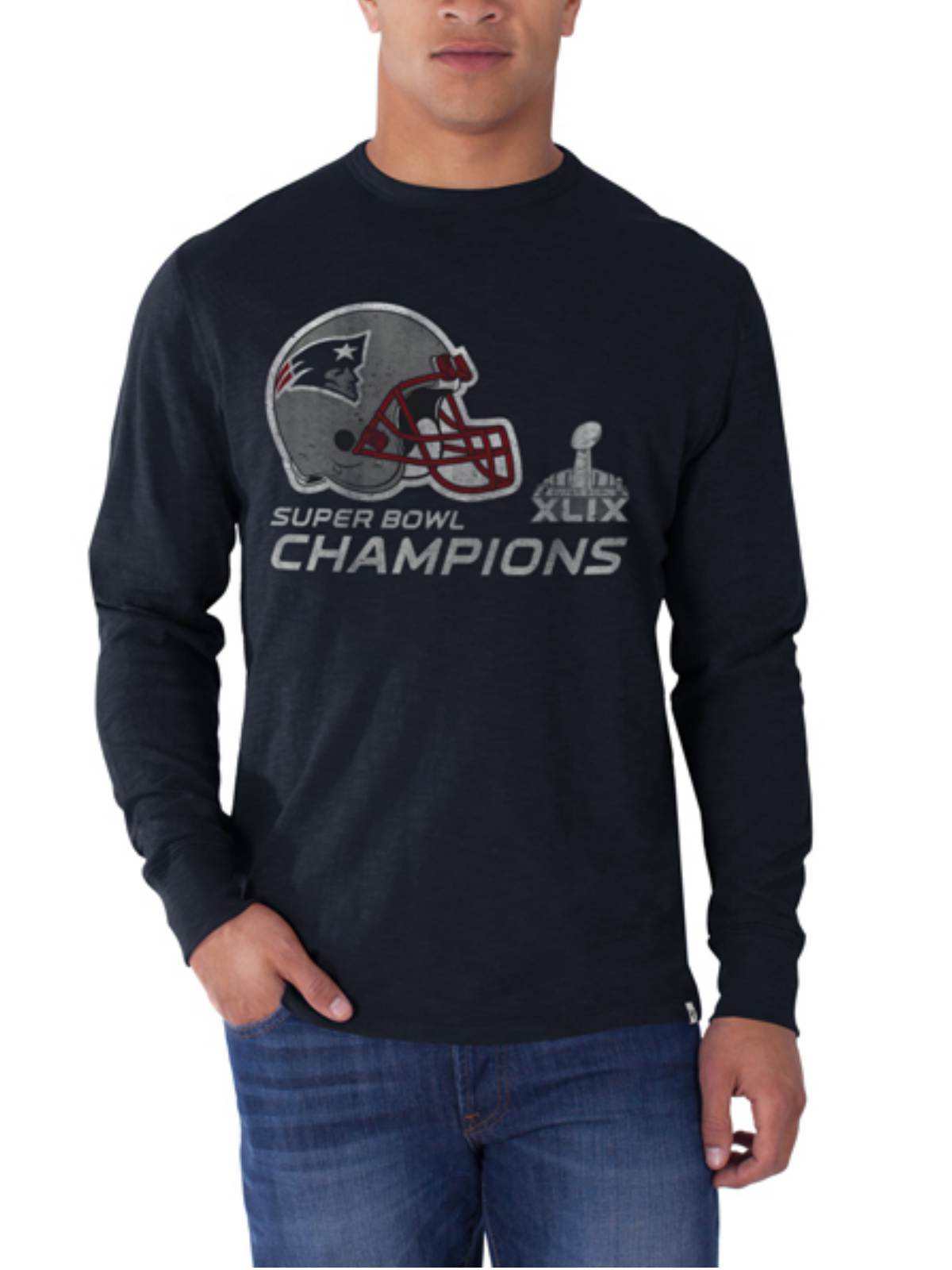 47 Brand New England Patriots Super Bowl XLIX Champs Helmet Long Sleeve T-Shirt