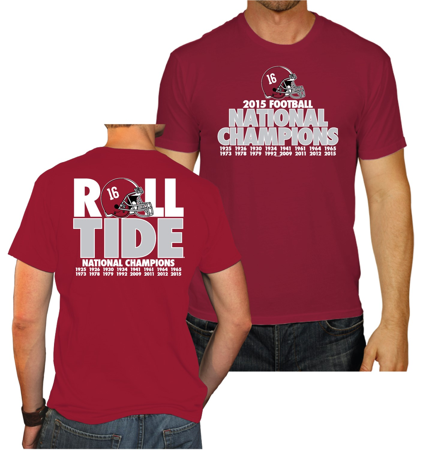 Alabama crimson tide 2016 football national champions roll for Alabama roll tide t shirts