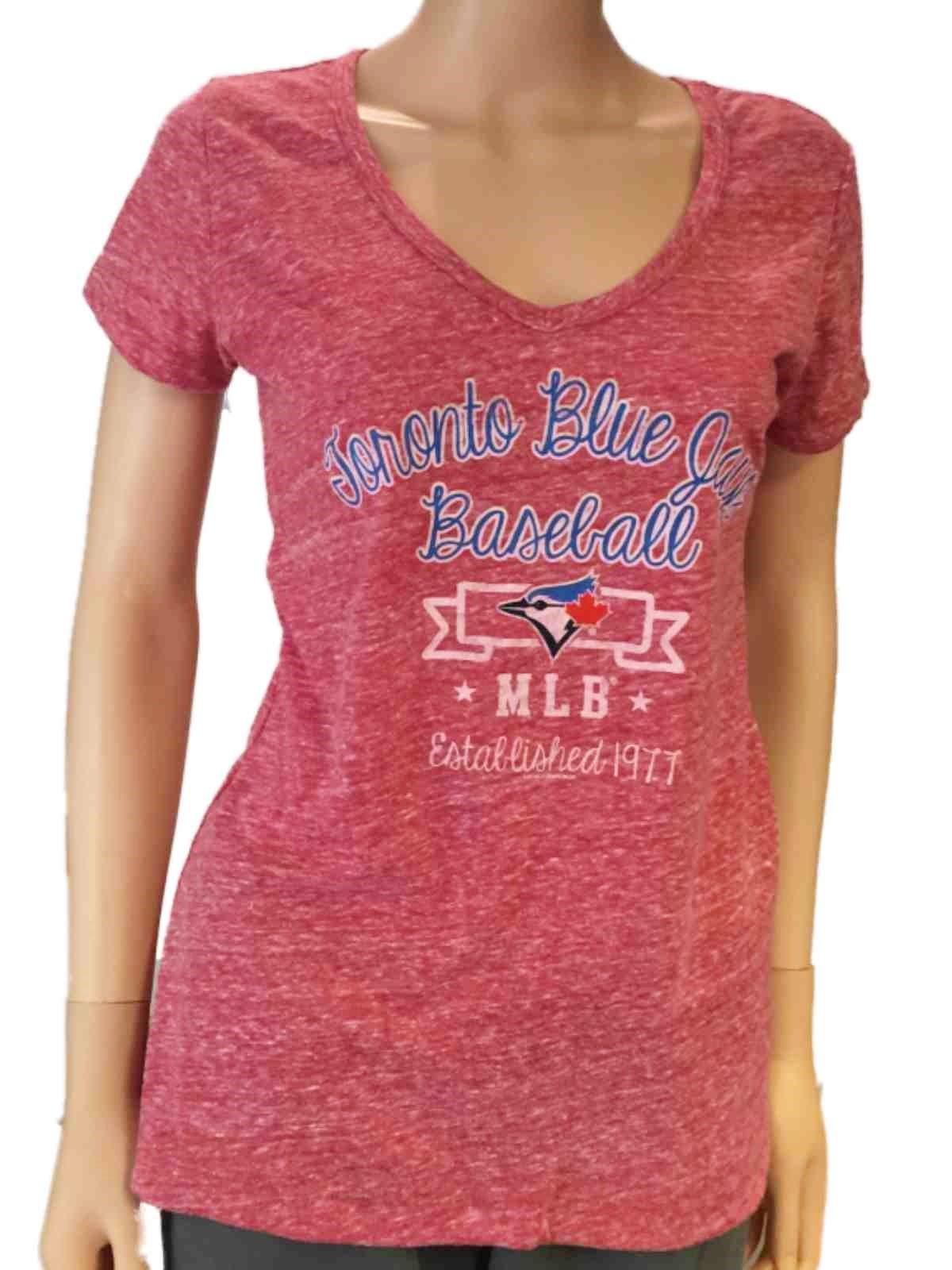 Soft As A Grape Toronto Blue Jays SAAG Women Red Loose Soft Baseball V-Neck T-Shirt