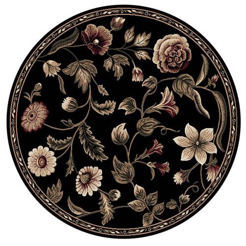 Oriental Floral Black Area Rug 8X8 Persian Round 029