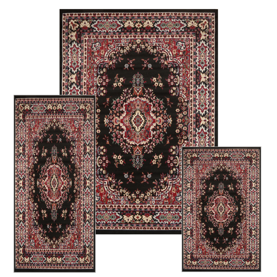 Traditional Medallion Persian 3 Pcs Area Rug Oriental Bordered Runner Mat Set
