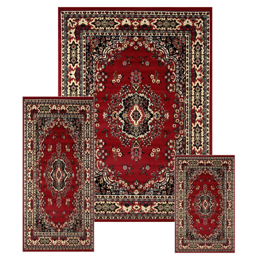 Traditional Medallion Persian 3 Pcs Area Rug Mat Set