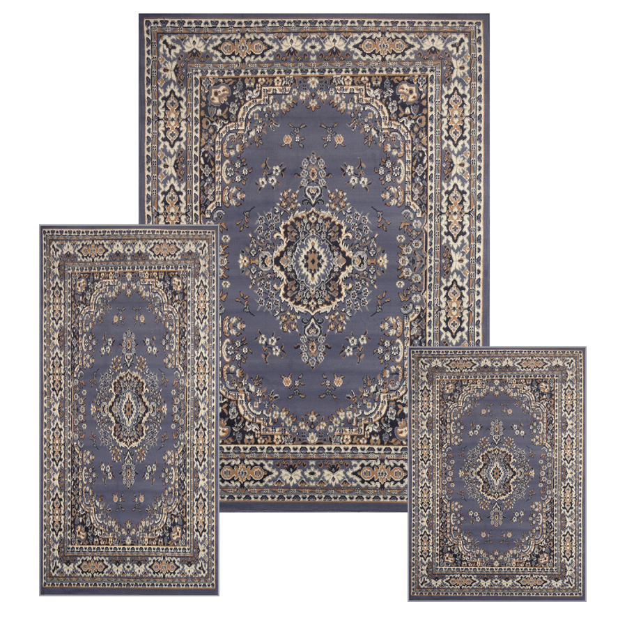 Traditional medallion persian 3 pcs area rug oriental for Area rug sets