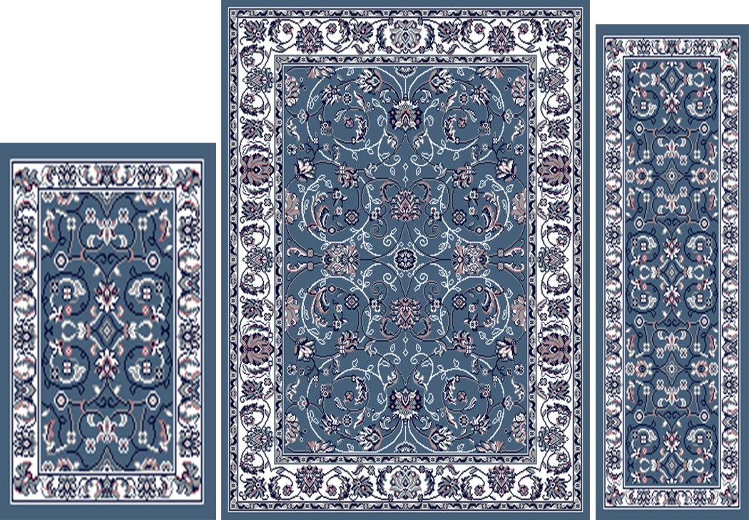 Traditional blue ivory oriental 3 pcs vine persian leaf for Blue and white oriental rug