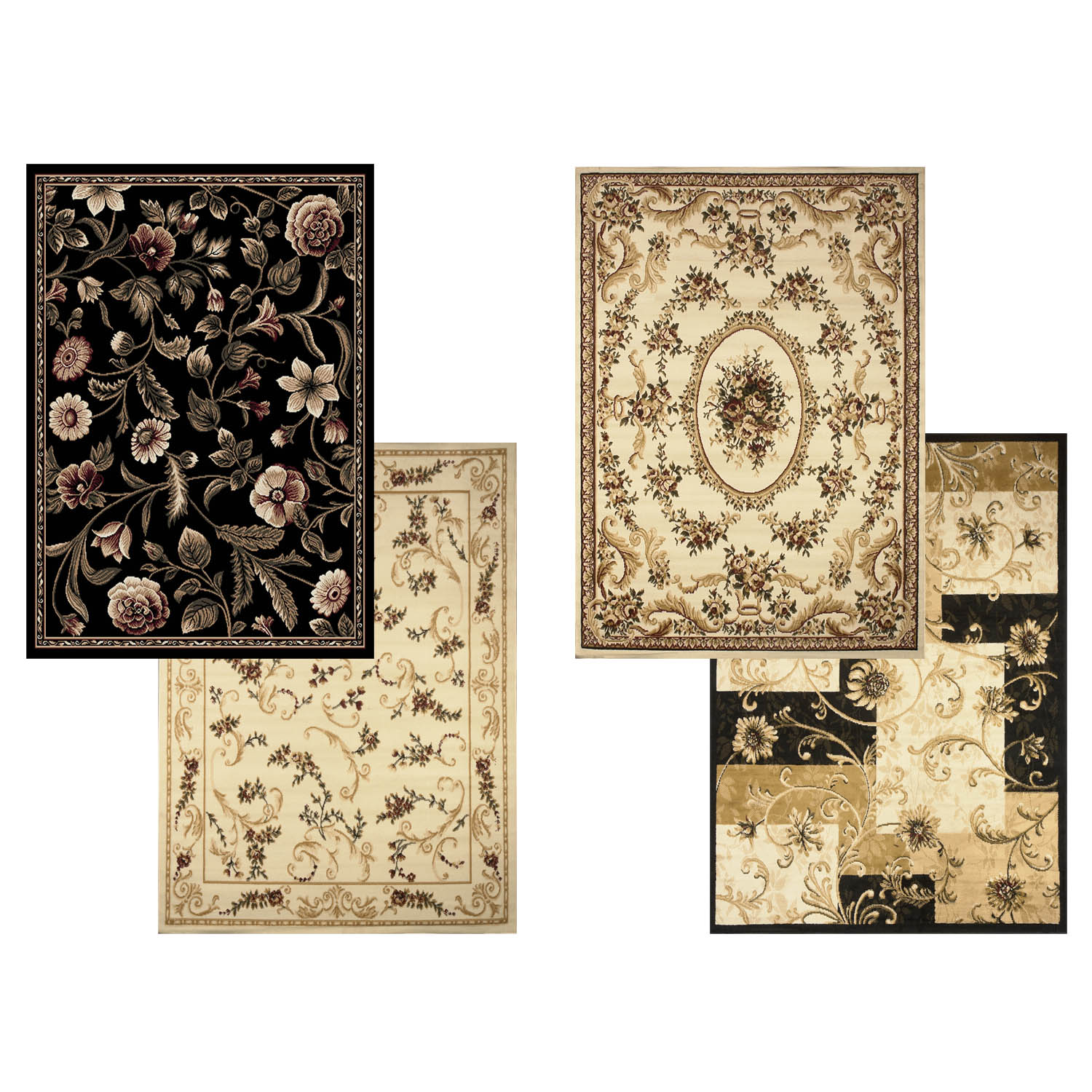 floral area rug 5x7 casual vines scrolls