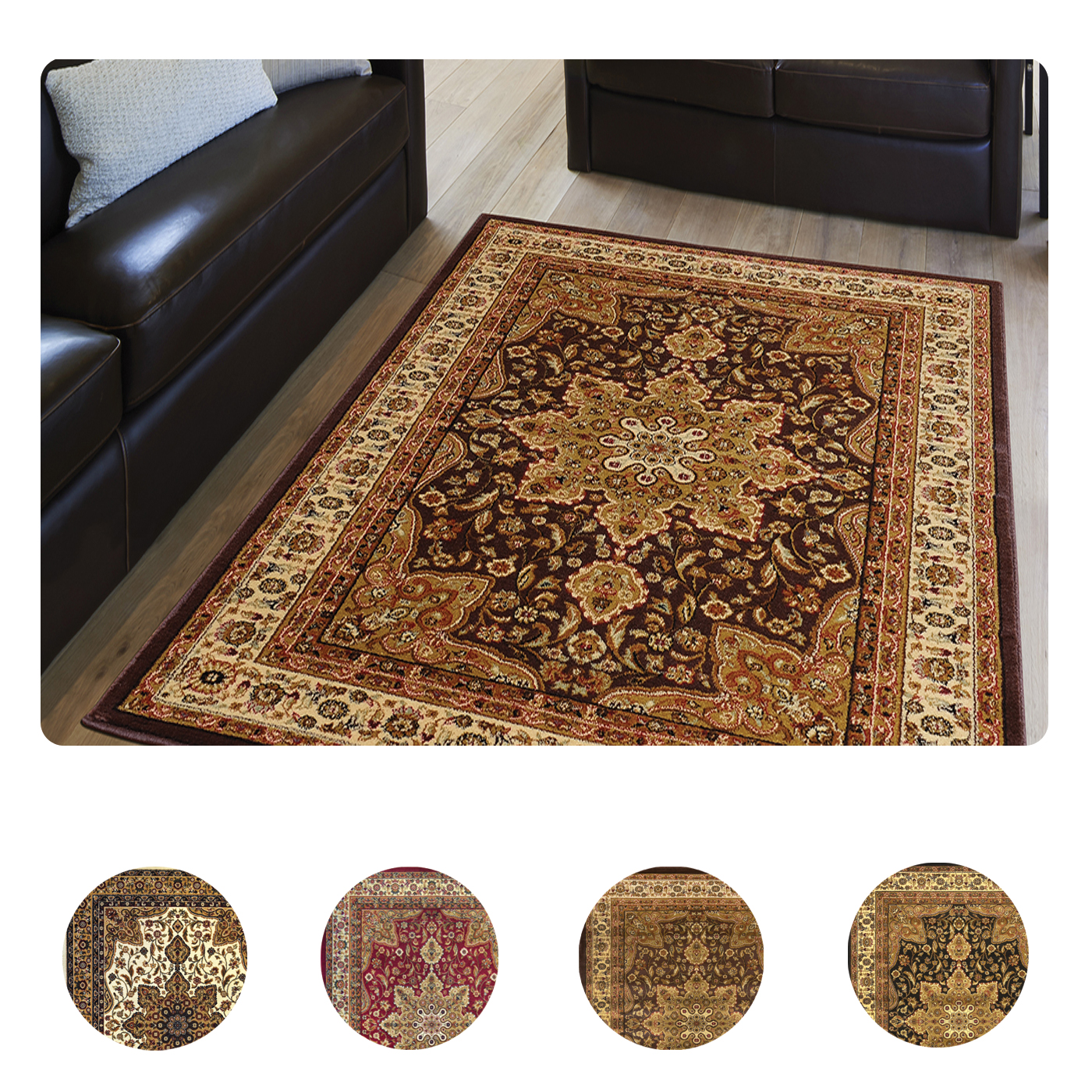 New Brand Devlin Persian Rug Handmade 100 Wool Area Rugs: Large Medallion 8 X 11 Persian Area Rug Border Carpet