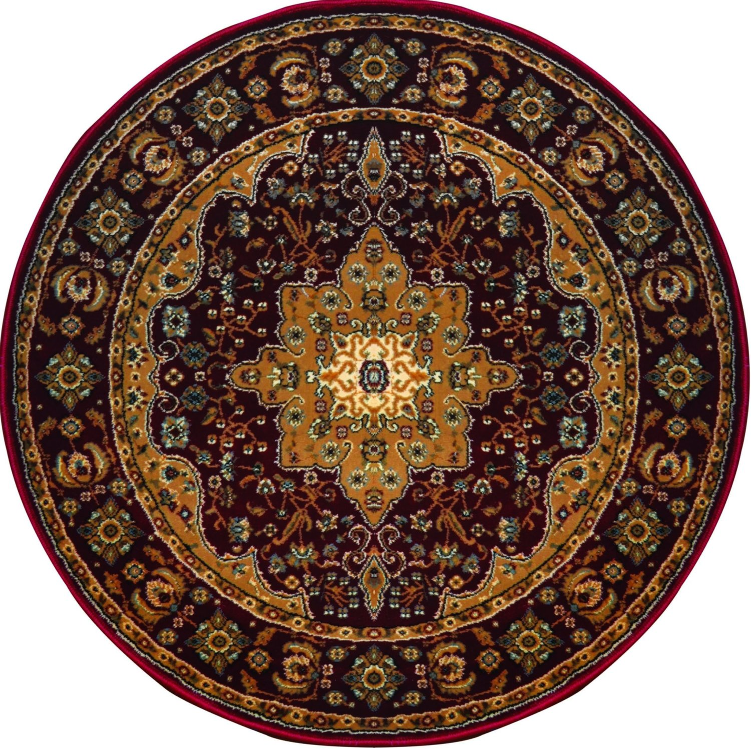 Burgundy Beige Bordered Traditional Area Rug Medallion