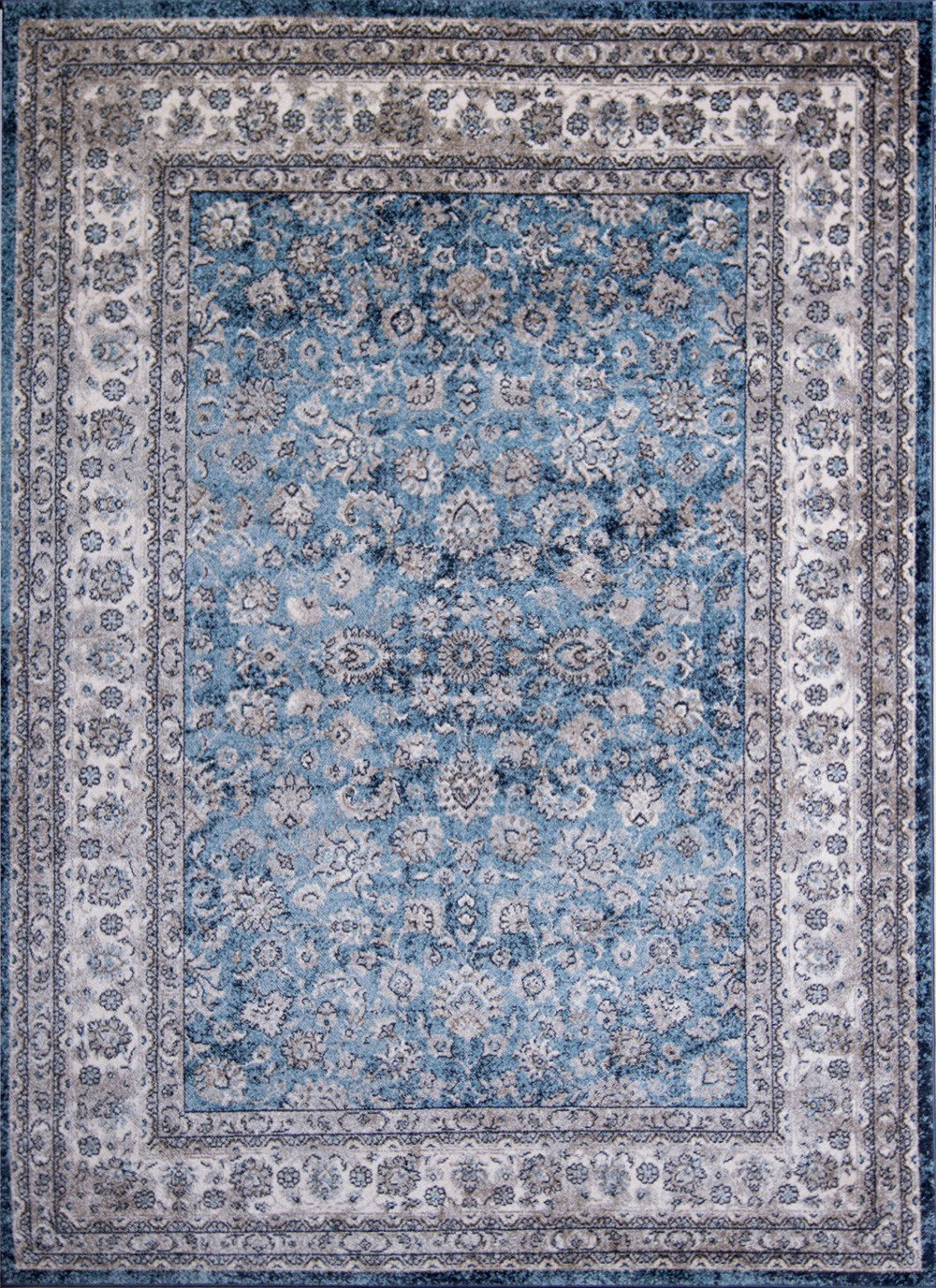 blue ivory traditional 5x7 area rug bordered oriental carpet actual 5 39 3 x 7 39 2 ebay. Black Bedroom Furniture Sets. Home Design Ideas