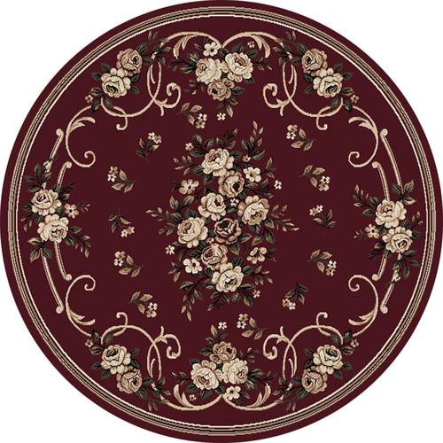 Plum Burgundy Oriental Area Rug 8x8 Persian Round 028
