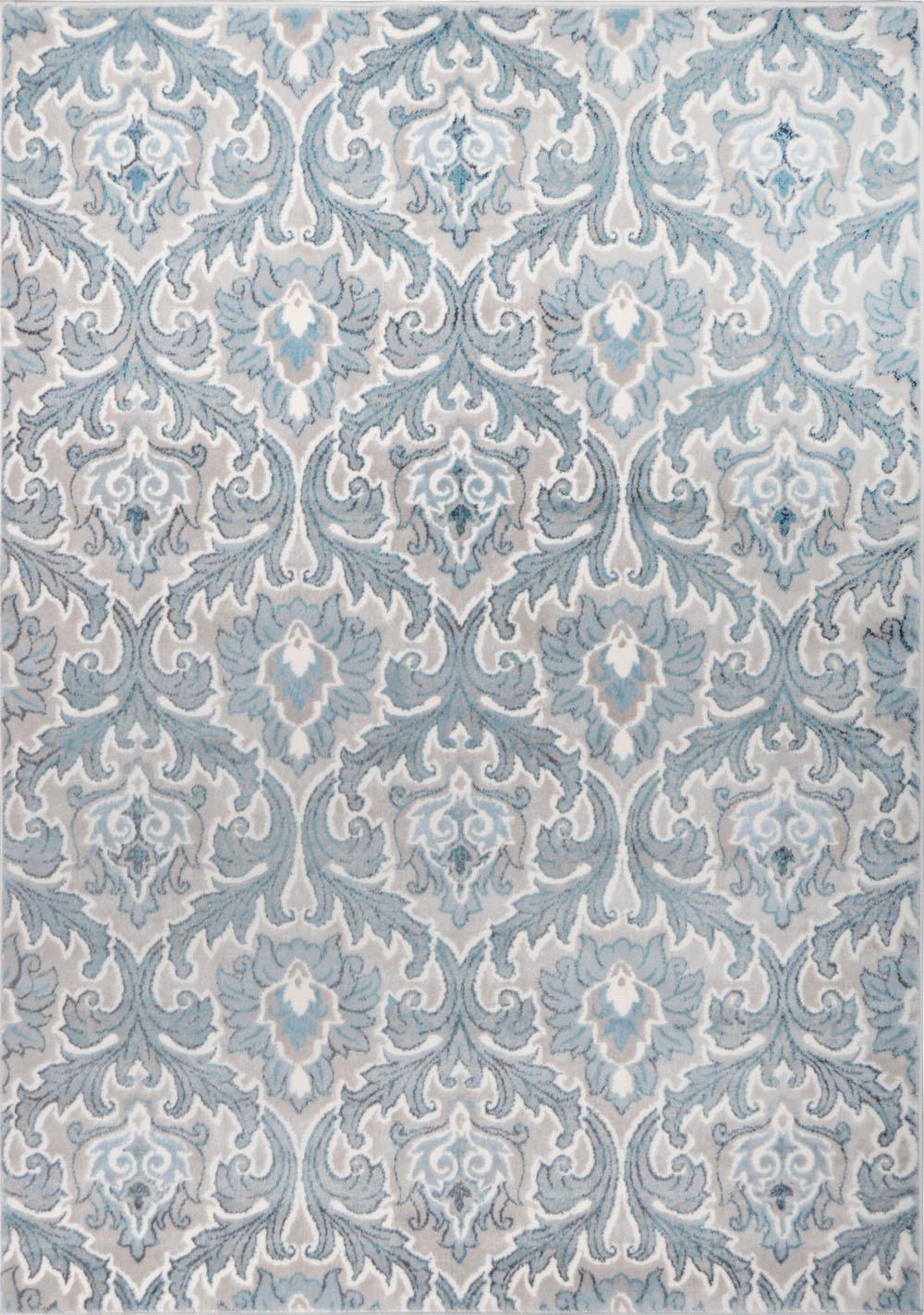 Contemporary Cream Blue Carpet Curls Curves Flames