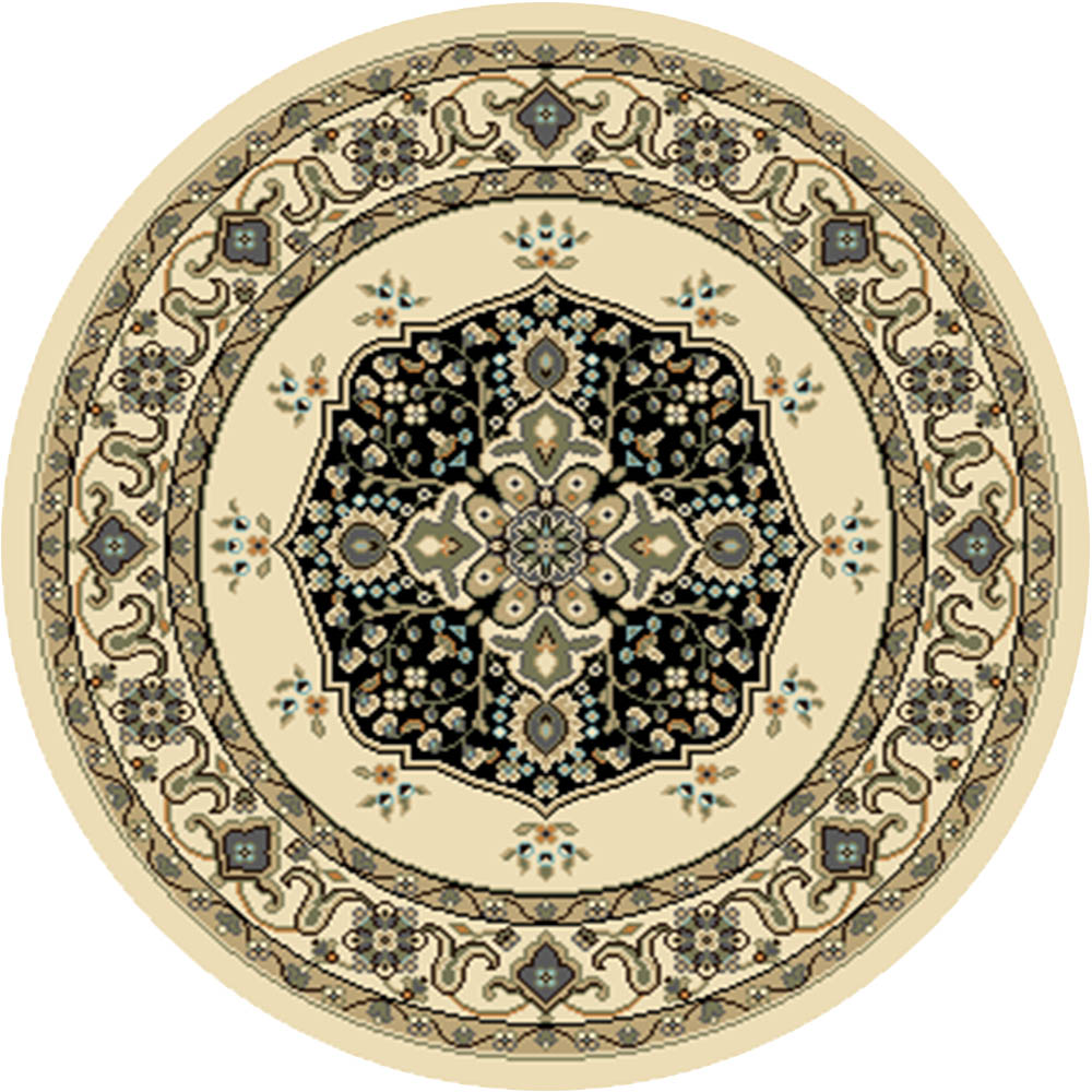 Persian Ivory Medallion Area Rug 5x5 Round Oriental Border ...
