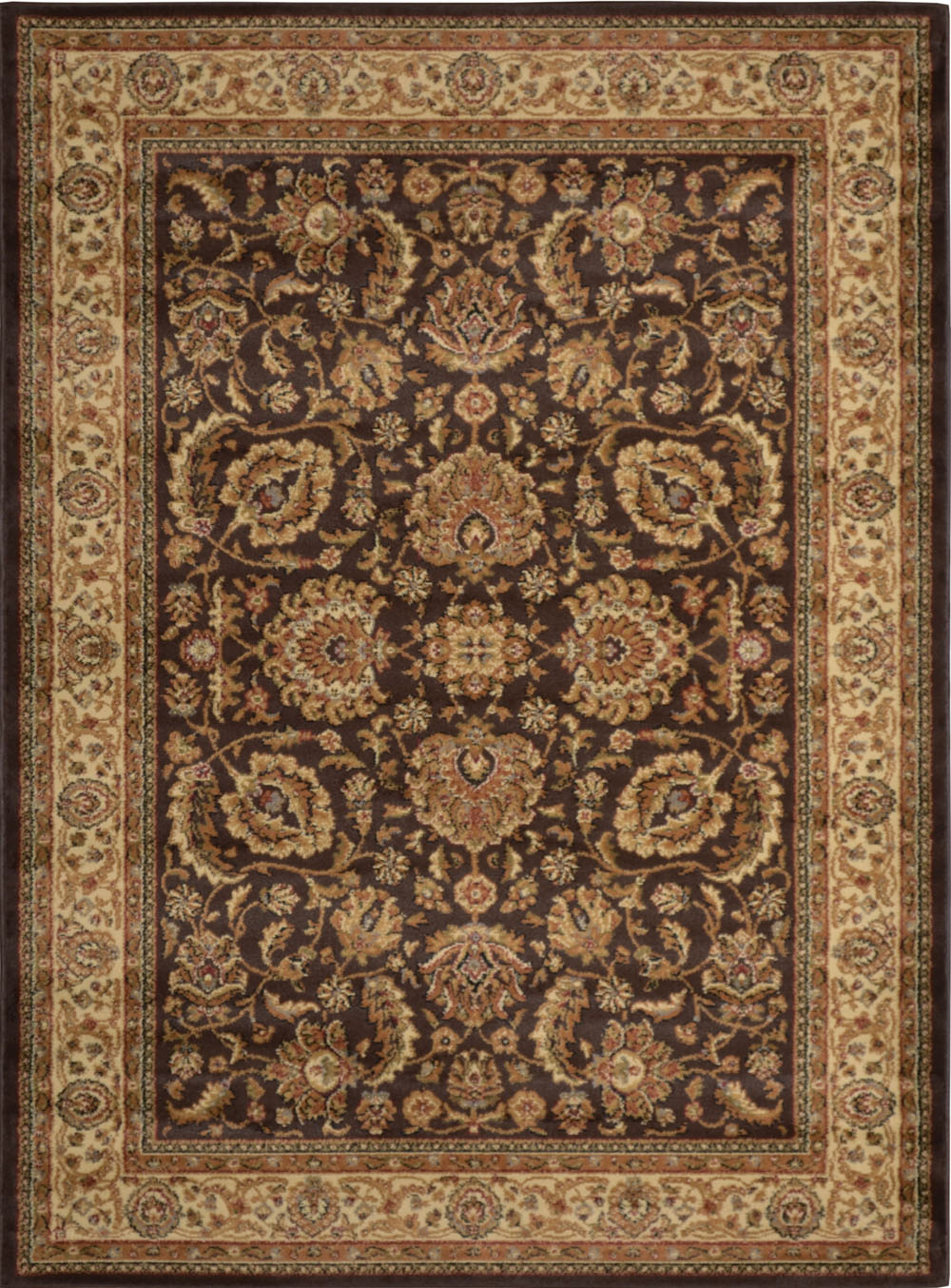 Brown Ivory Oriental Area Rug Persian Border Floral Leaves