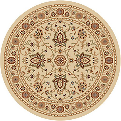 IVORY PERSIAN AREA RUG 5X5 ROUND ORIENTAL CARPET 3207