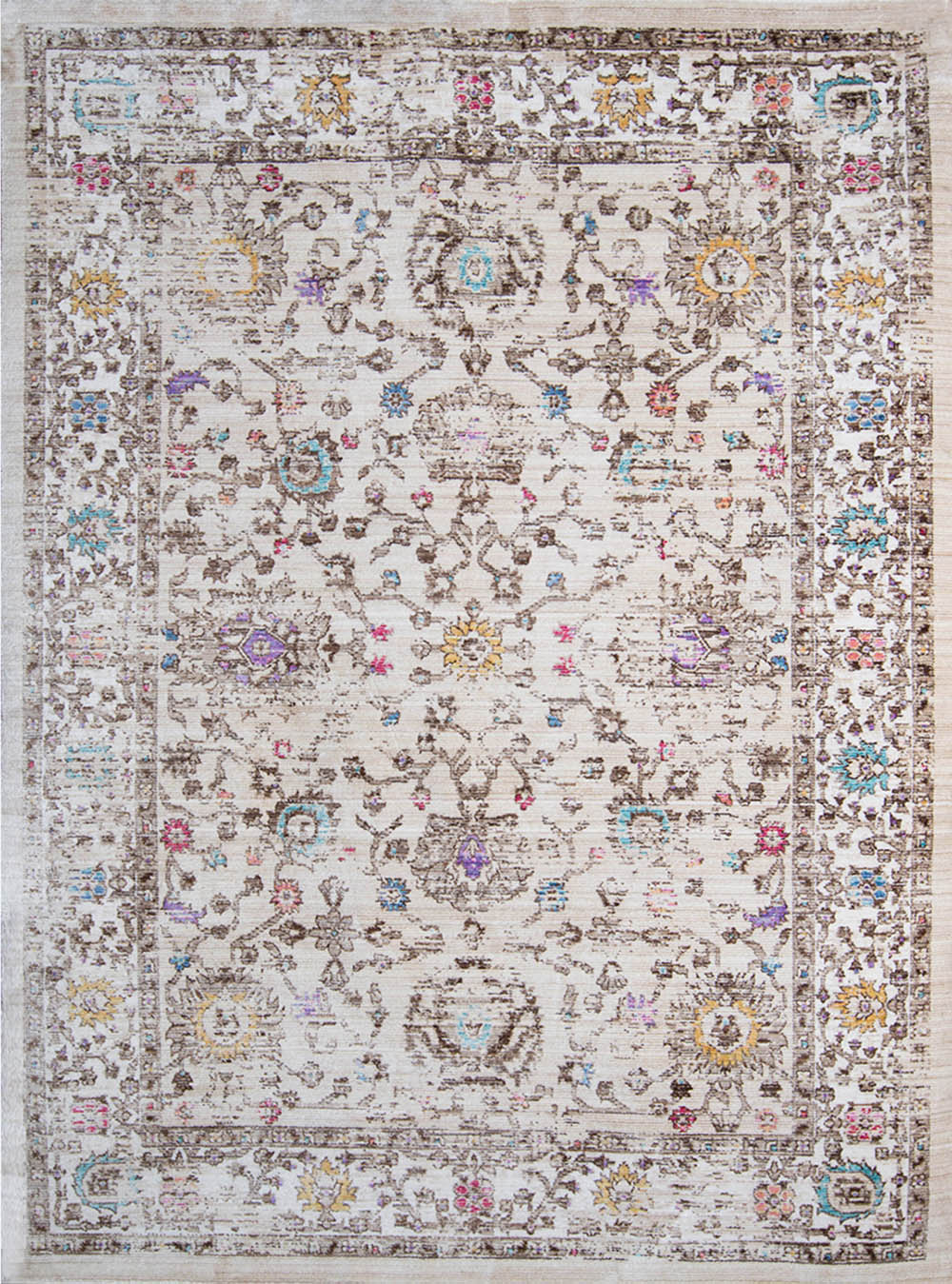 Beige Cream Traditional Bordered Area Rug Persian Oriental