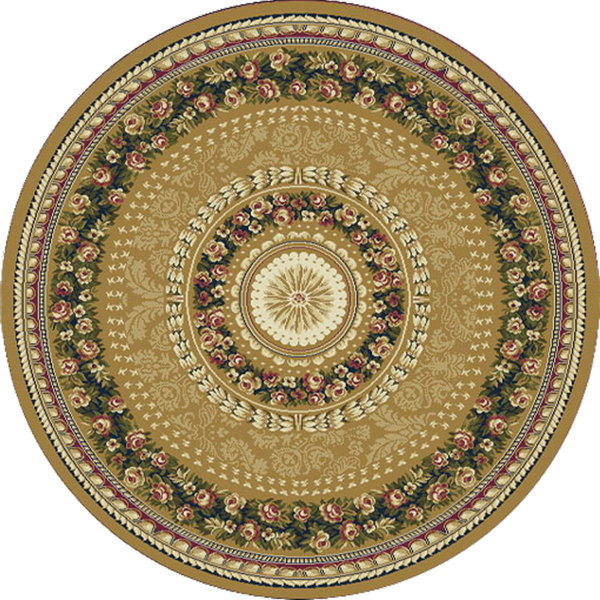 Gold French Oriental Area Rug 8x8 Round Persian 023 Actual ...