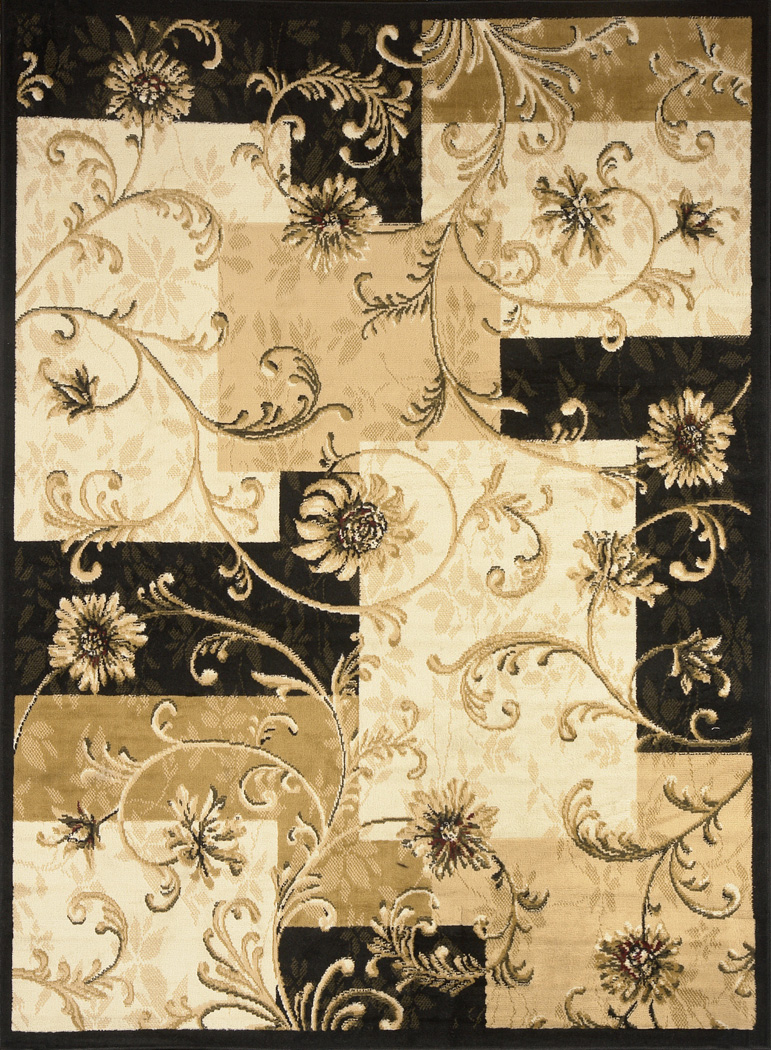 Black And Tan Area Rugs transitional floral area rug 5x7 casual vines scrolls carpet