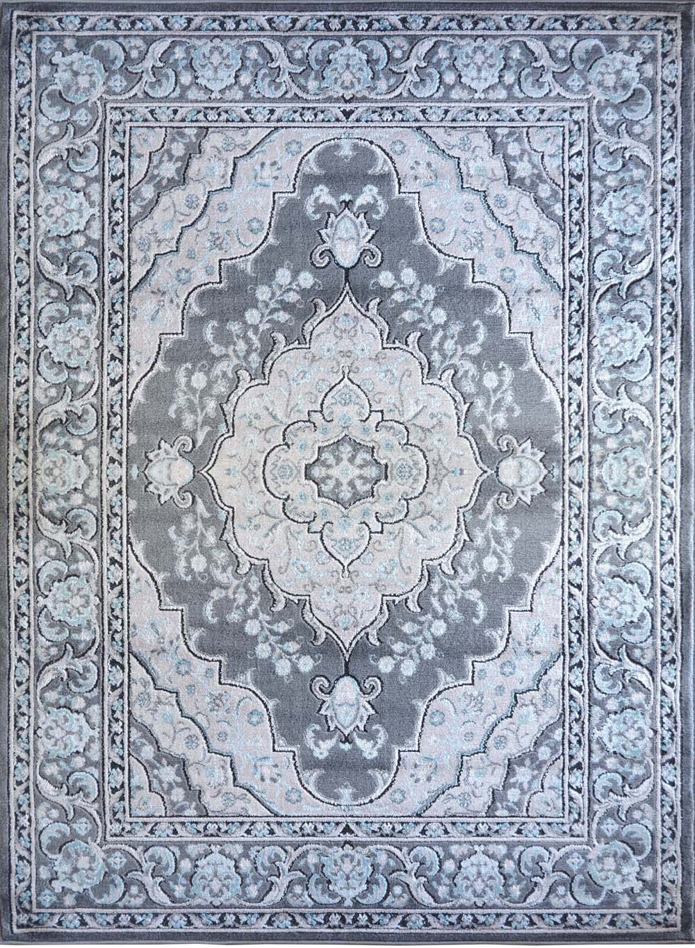Traditional Gray Carpet Medallion Leaves Petals Diamonds